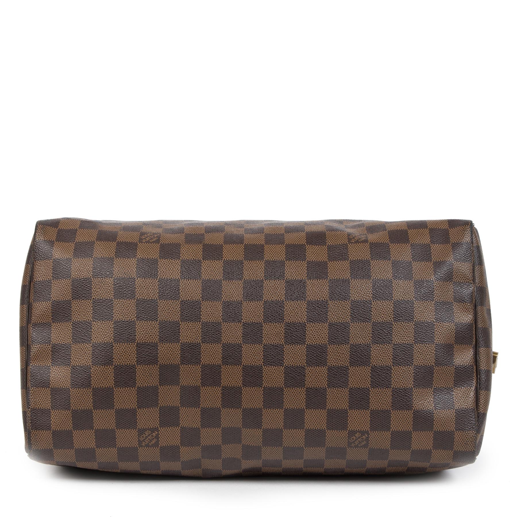 Authentieke tweedehands vintage Louis Vuitton Damier Ebene 35 Speedy koop online webshop LabelLOV