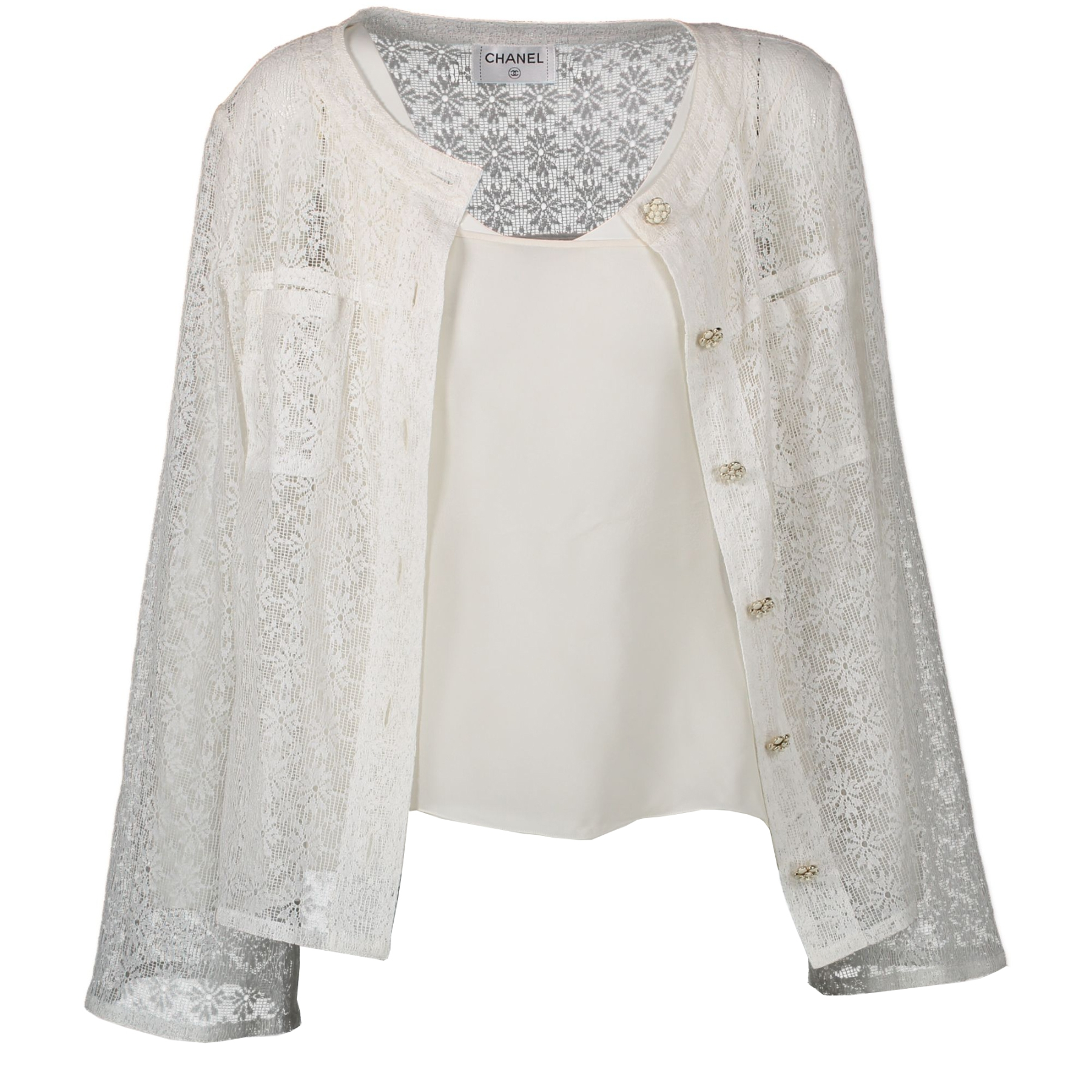 We buy and sell your authentic designer Chanel White Cotton Crochet Vest with Top