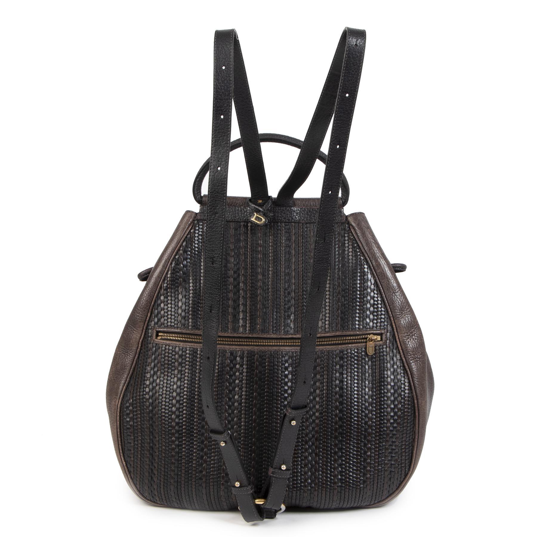 Authentieke tweedehands vintage Delvaux Toile De Cuir Cerceau Backpack  koop online webshop LabelLOV