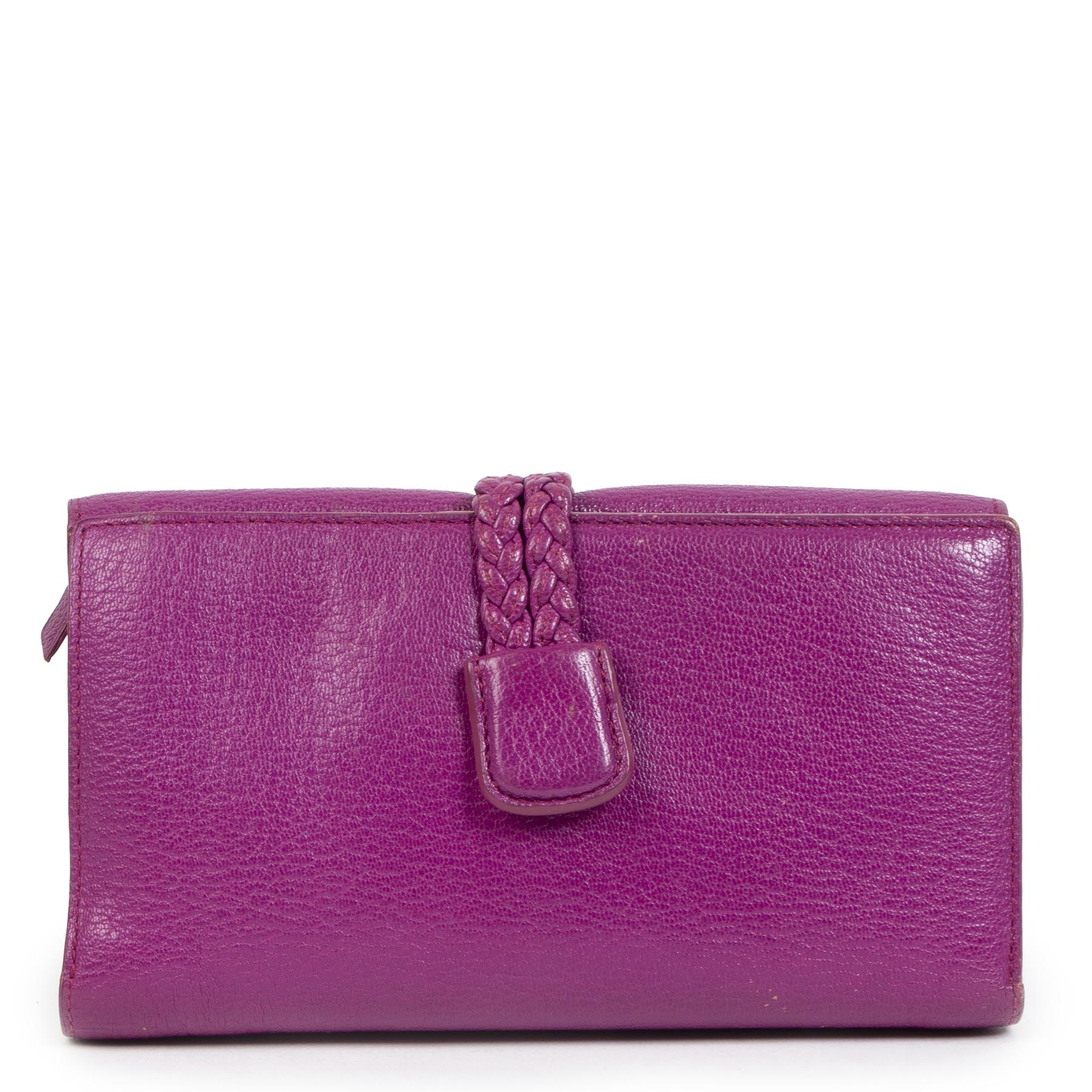 Authentic second-hand vintage Delvaux Fuchsia Wallet buy online webshop LabelLOV.