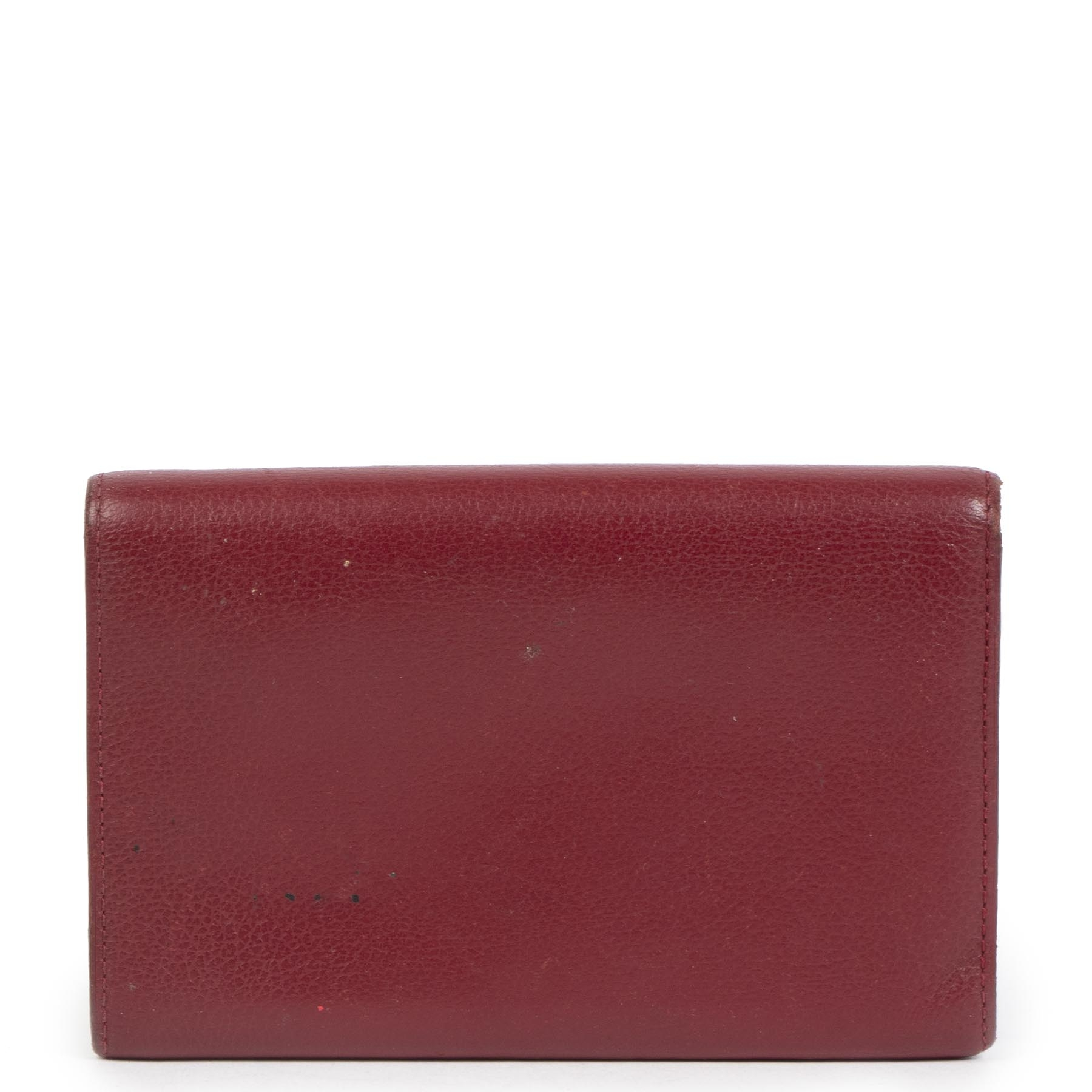 Authentic second-hand vintage Delvaux Burgundy Wallet buy online webshop LabelLOV