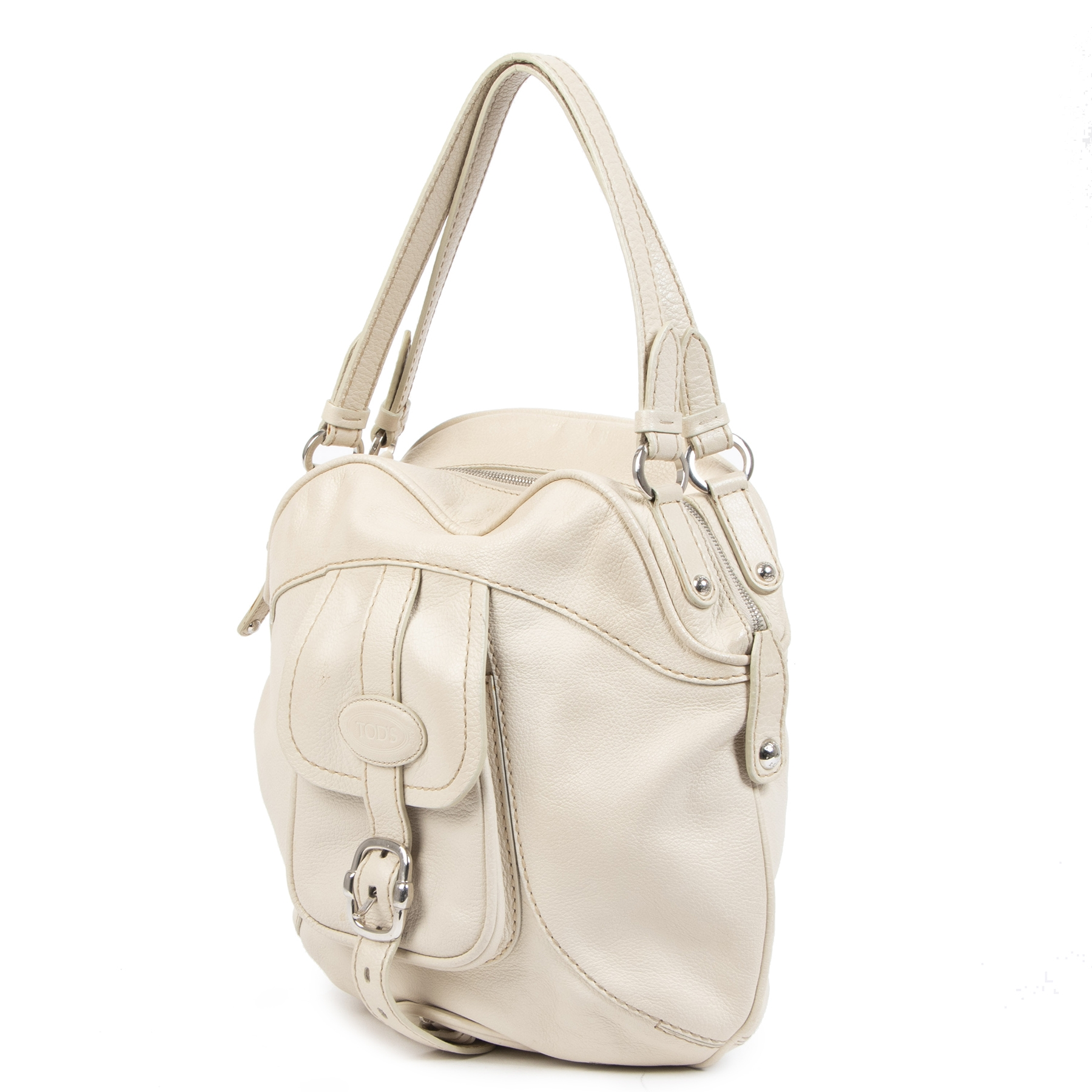 Authentique seconde-main vintage Tods White Shoulder Bag achète en ligne webshop LabelLOV