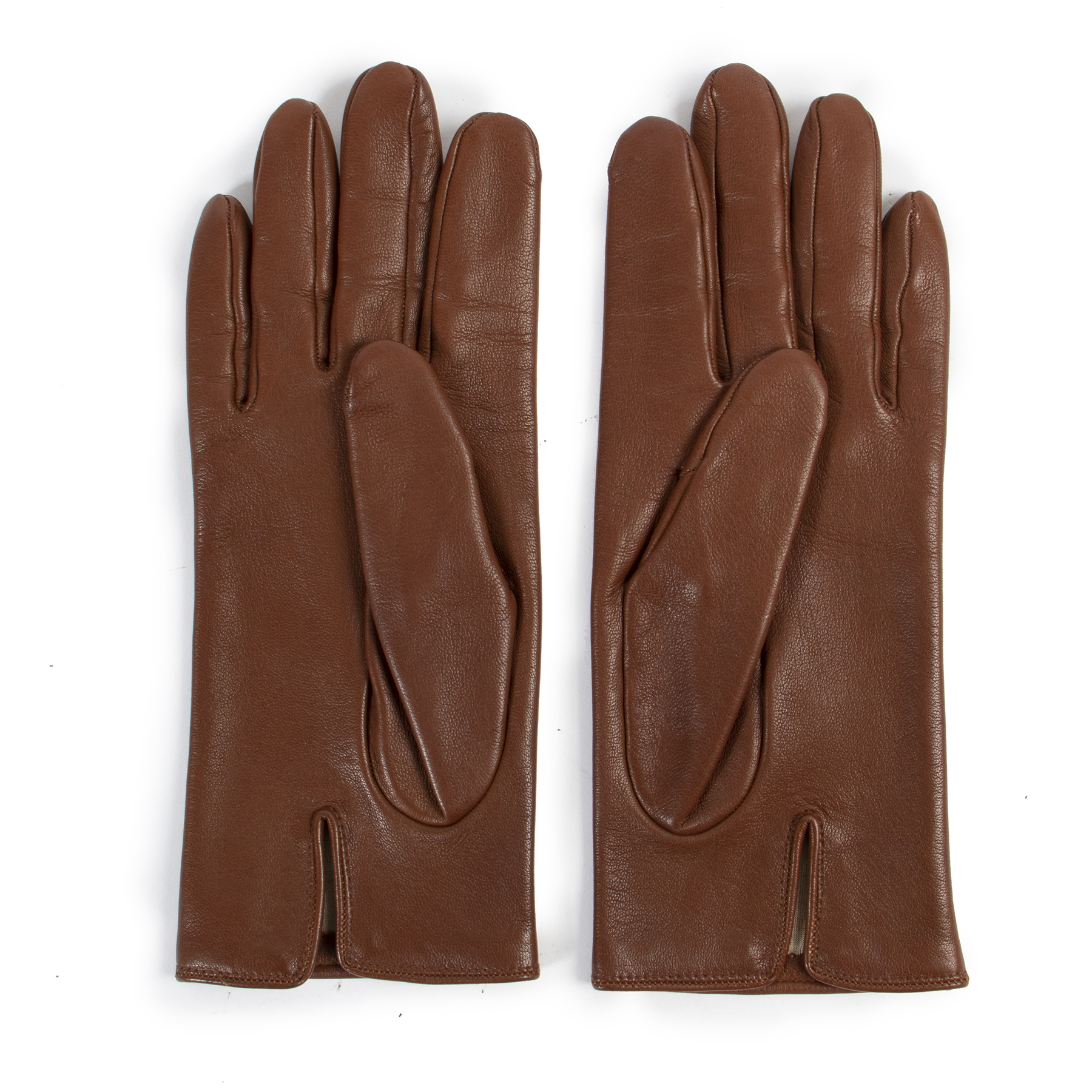 Celine Vintage Brown Leather Gloves available for the best price at Labellov secondhand luxury