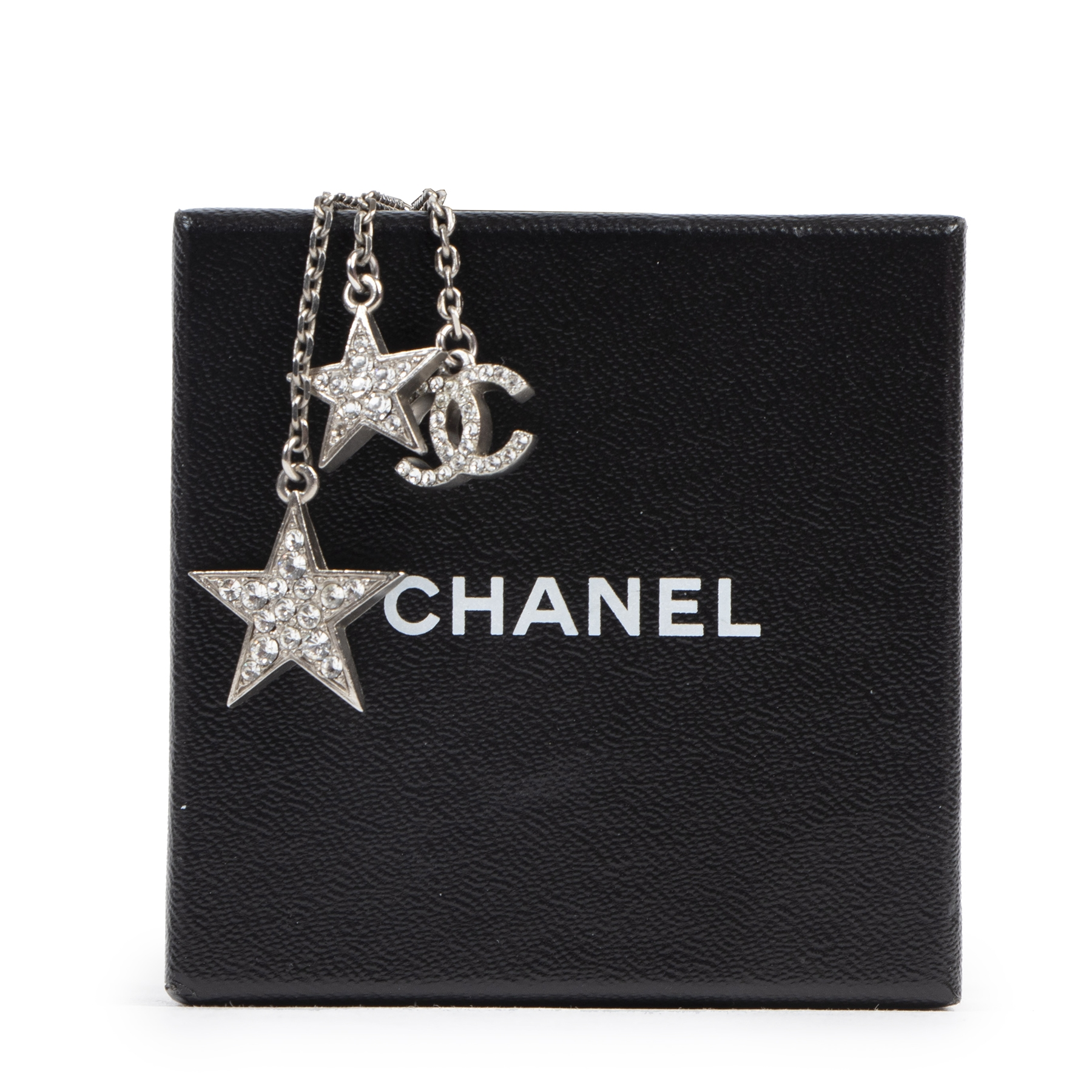 Authentic secondhand Chanel Silver Crystal Star CC Pendant Necklace designer accessories jewelry luxury vintage webshop fashion
