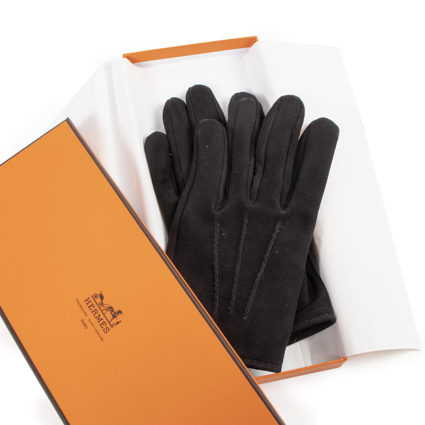 Authentieke Tweedehands Hermès Black Suede Gloves juiste prijs veilig online shoppen luxe merken webshop winkelen Antwerpen België mode fashion