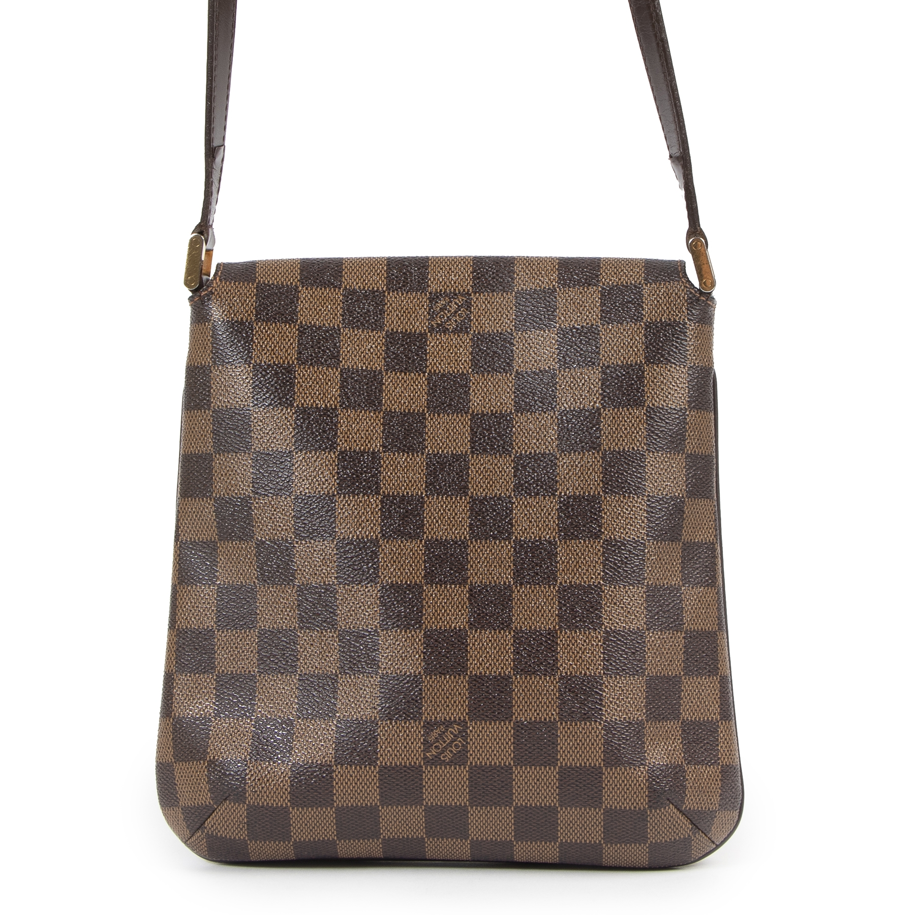 Authentieke Tweedehands Louis Vuitton Damier Ebene Musette Salsa PM Bag juiste prijs veilig online shoppen luxe merken webshop winkelen Antwerpen België mode fashion