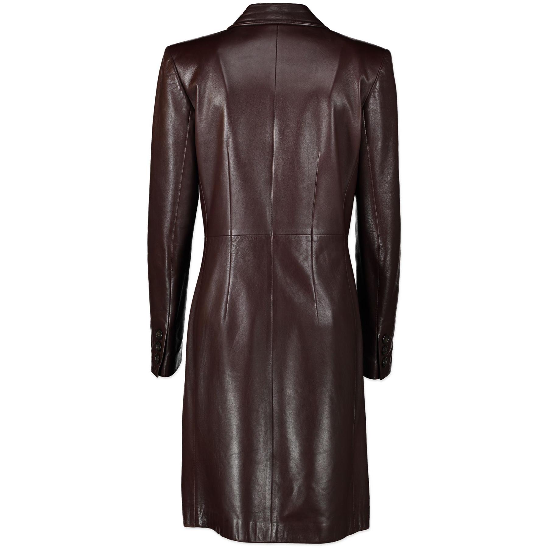Saint Laurent Brown Leather Long Coat