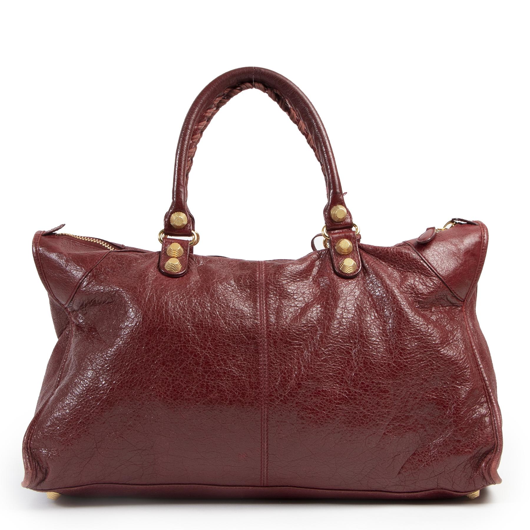 Authentieke Tweedehands Balenciaga Bordeaux Giant City Bag juiste prijs veilig online shoppen luxe merken webshop winkelen Antwerpen België mode fashion