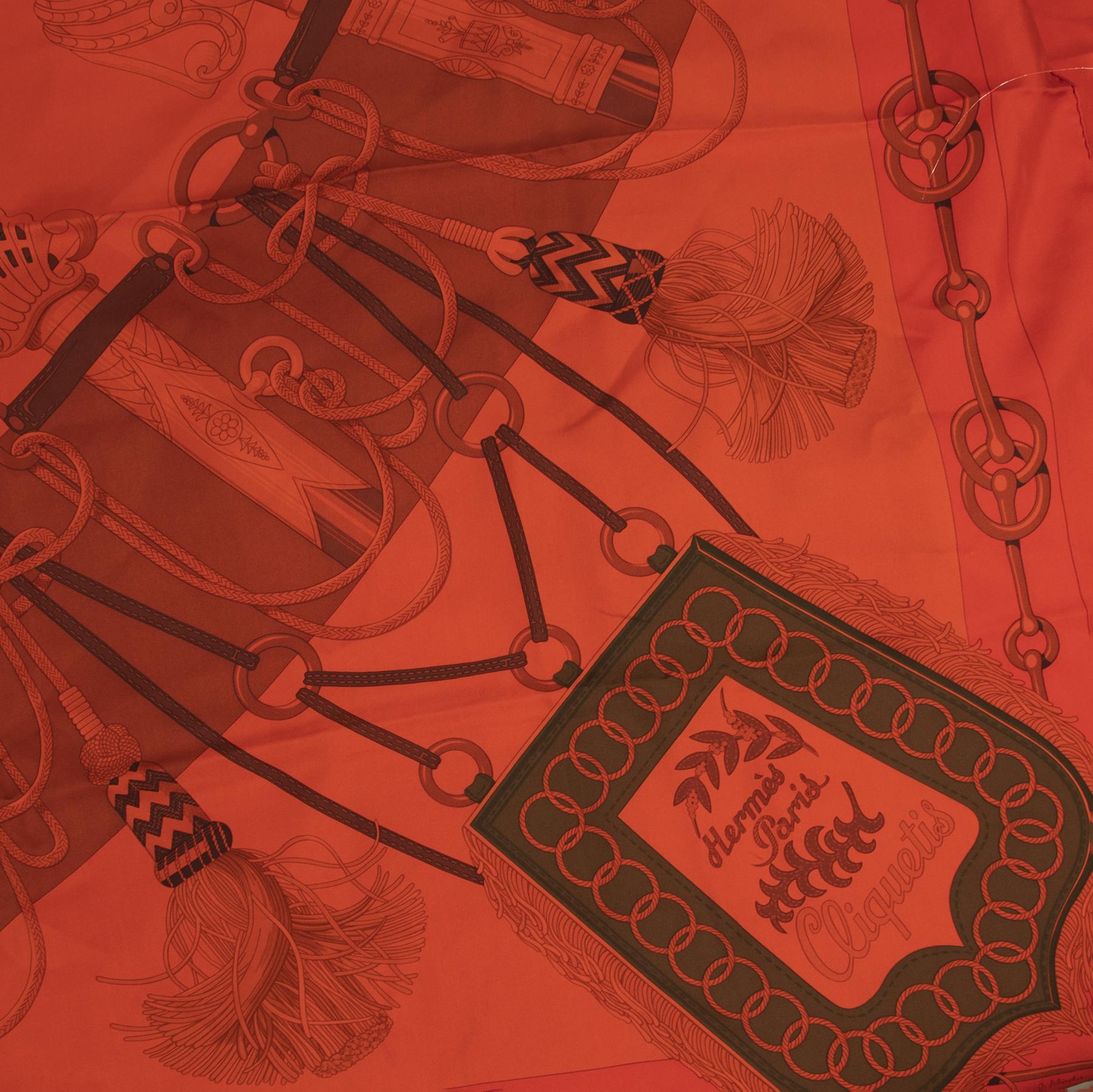 Authentic secondhand Hermès Red Cliquetis Silk Scarf designer accessories fashion luxury vintage webshop safe secure online shopping