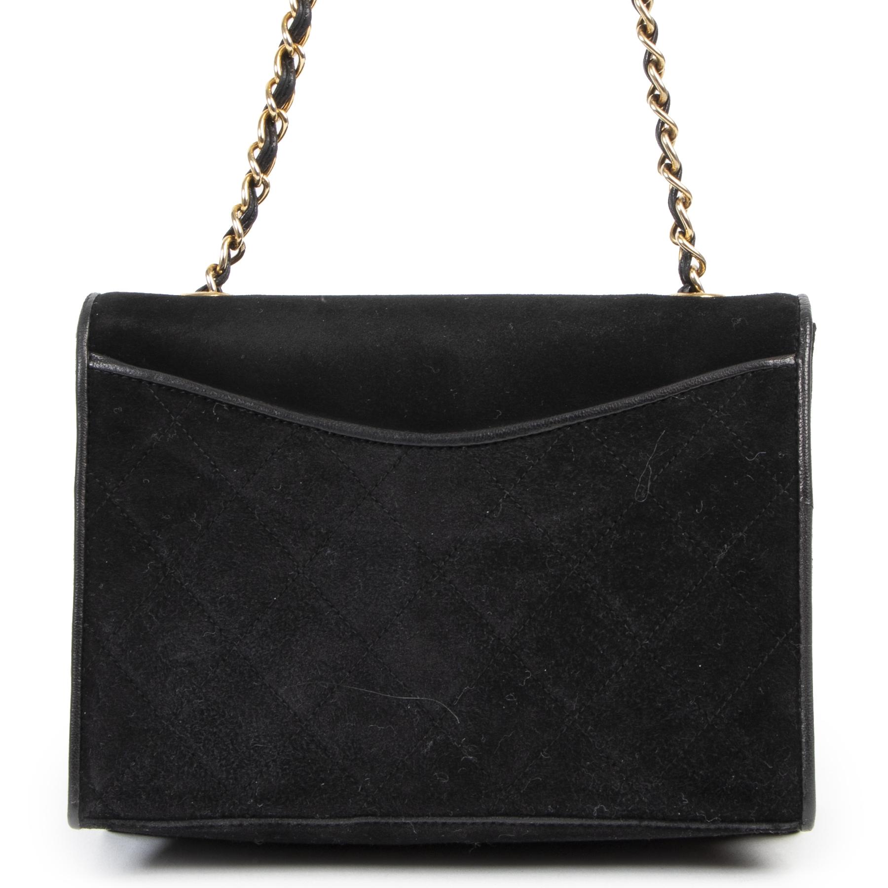 koop Chanel Vintage Suede Flap Bag