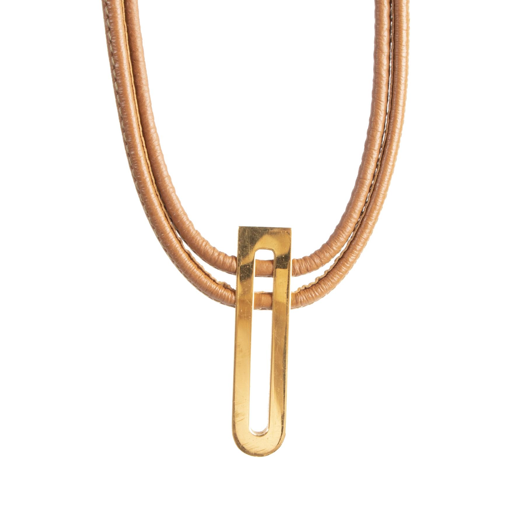 Authentieke Tweedehands Delvaux Brown Leather Gold D Necklace juiste prijs veilig online shoppen luxe merken webshop winkelen Antwerpen België mode fashion
