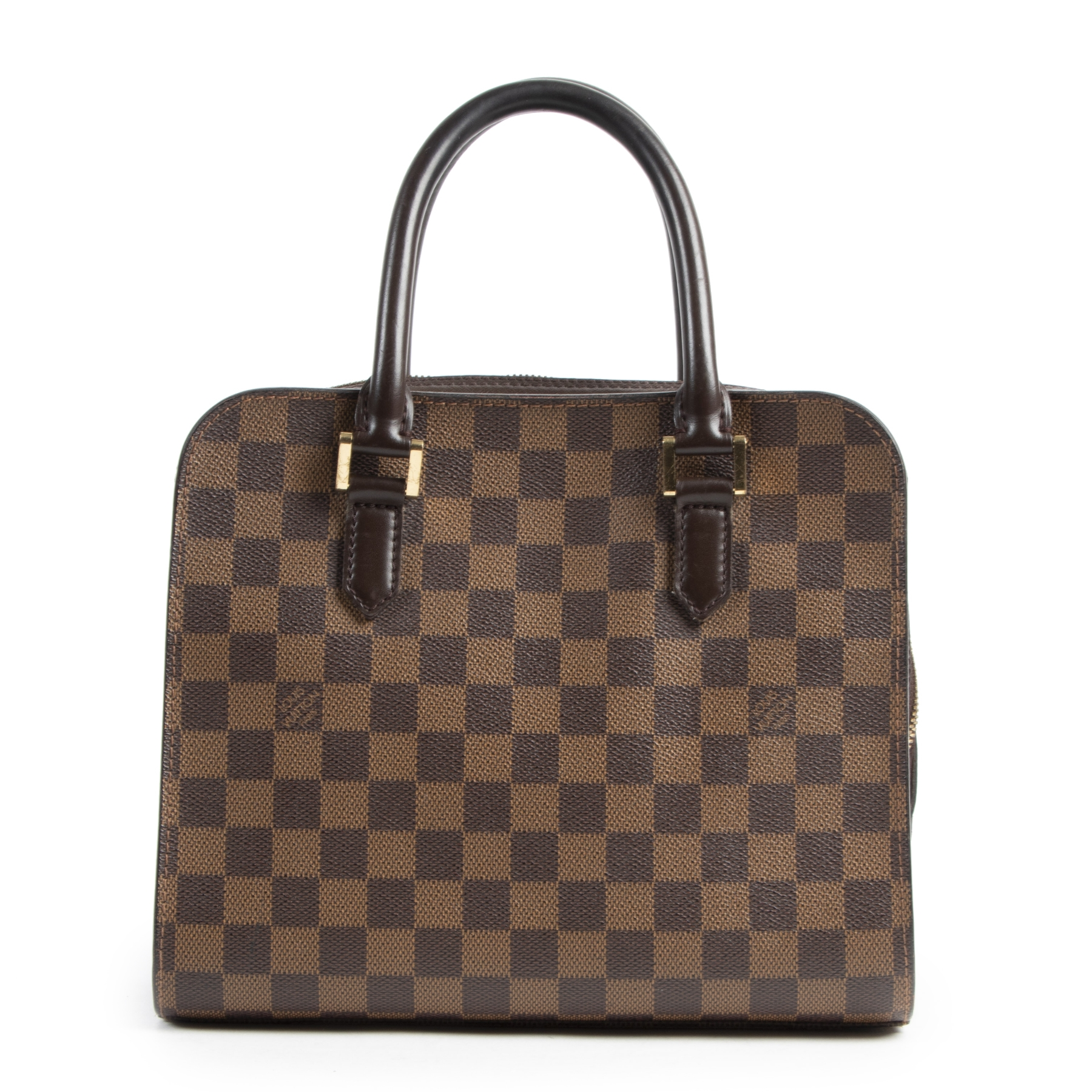 Authentic secondhand Louis Vuitton Damier Ebene Triana Top Handle Bag designer bags fashion luxury vintage webshop safe secure online shopping high end designer brands
