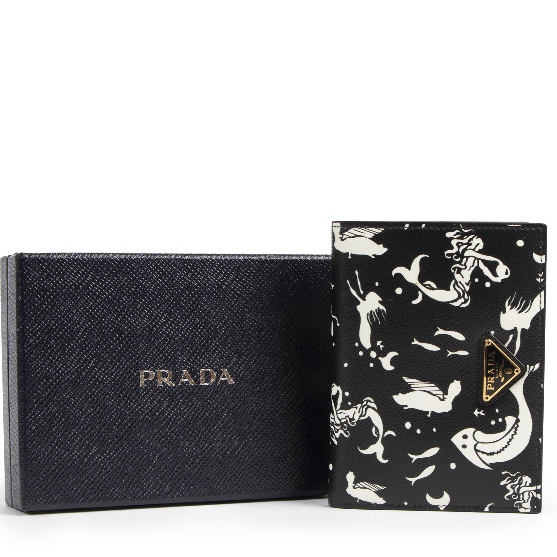 Authentic secondhand Prada Black Mermaid Print Wallet designer fashion luxury vintage webshop safe secure online shopping