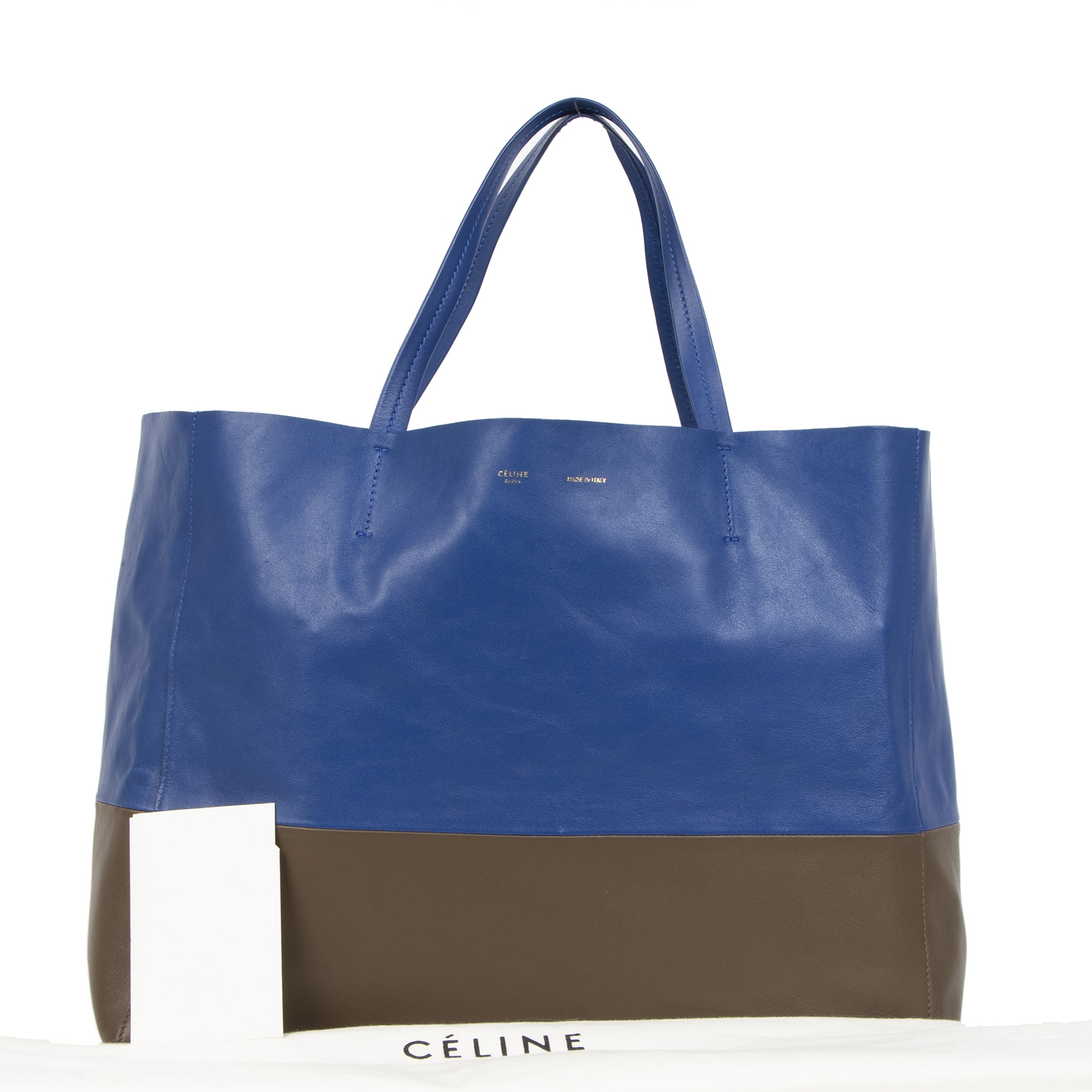 We buy and sell your authentic Céline Lambskin Horizontal Bi-Color Cabas Shoulder Ba
