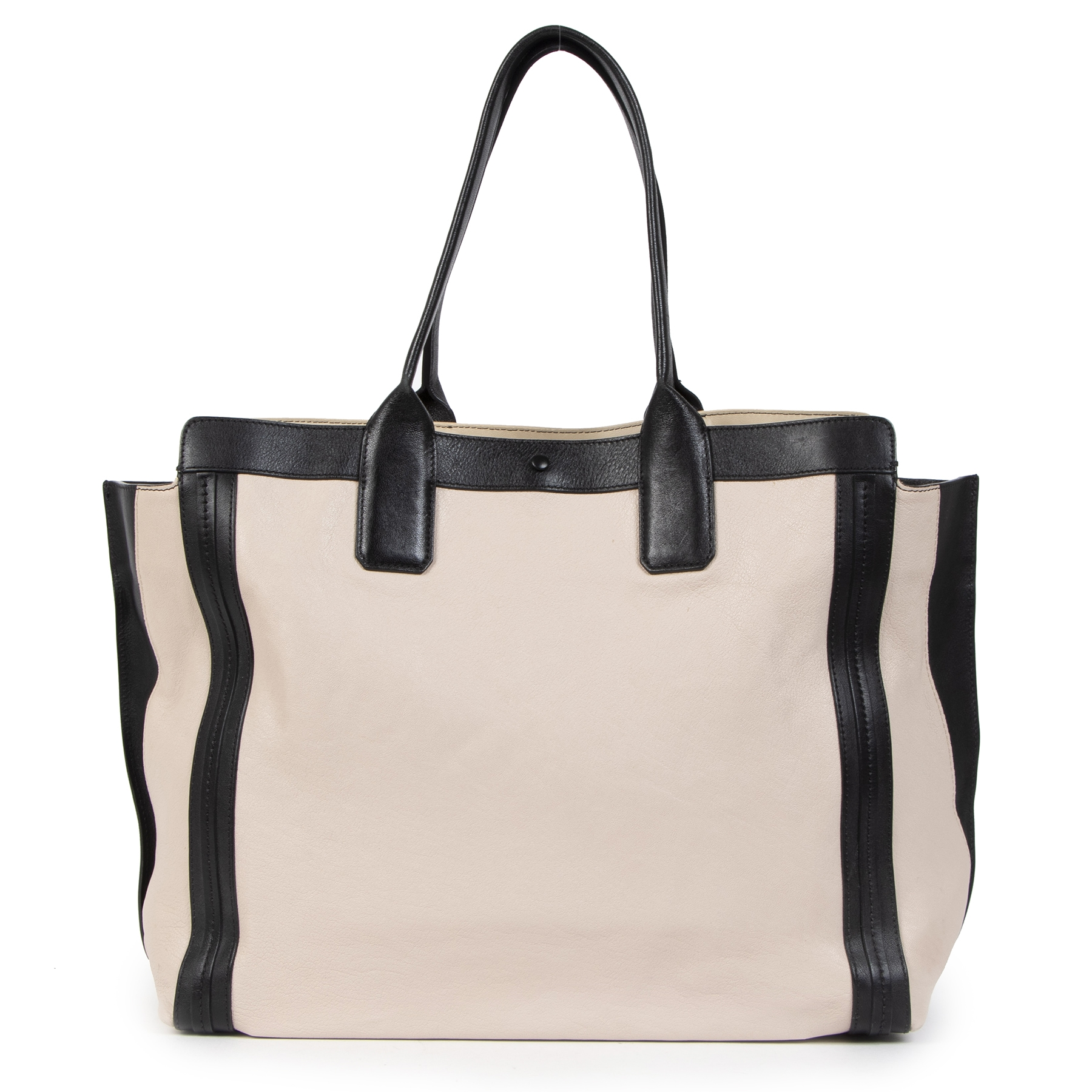Authentieke tweedehands vintage Chloé Alison East West Bicolor Shopping Tote koop online webshop LabelLOV