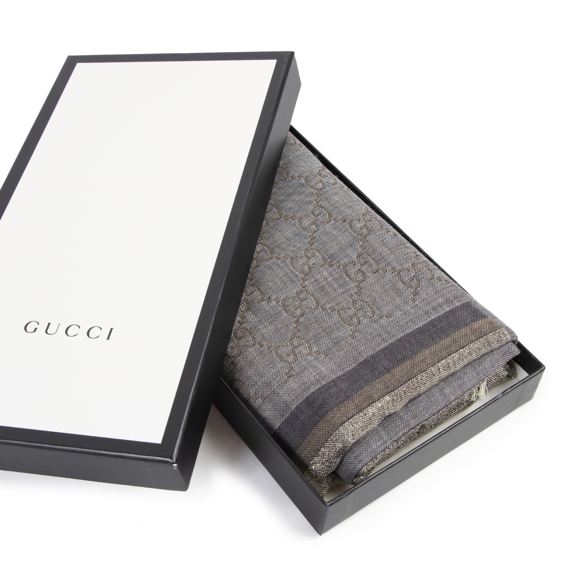Gucci Grey Monogram Scarf