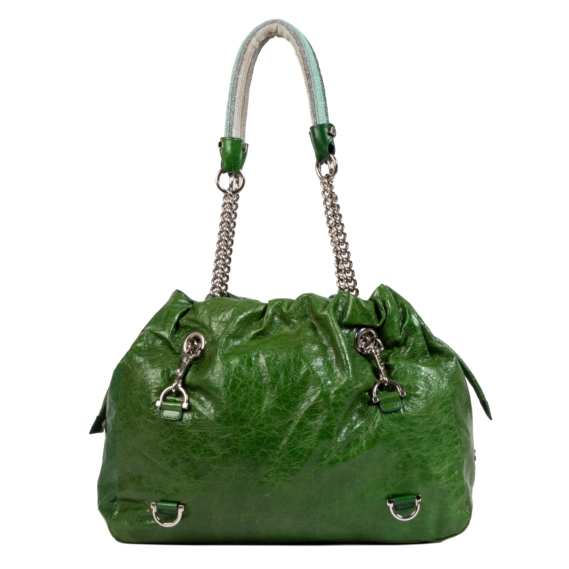 Missoni Green Leather Shoulder Tote Bag for the best price at Labellov online