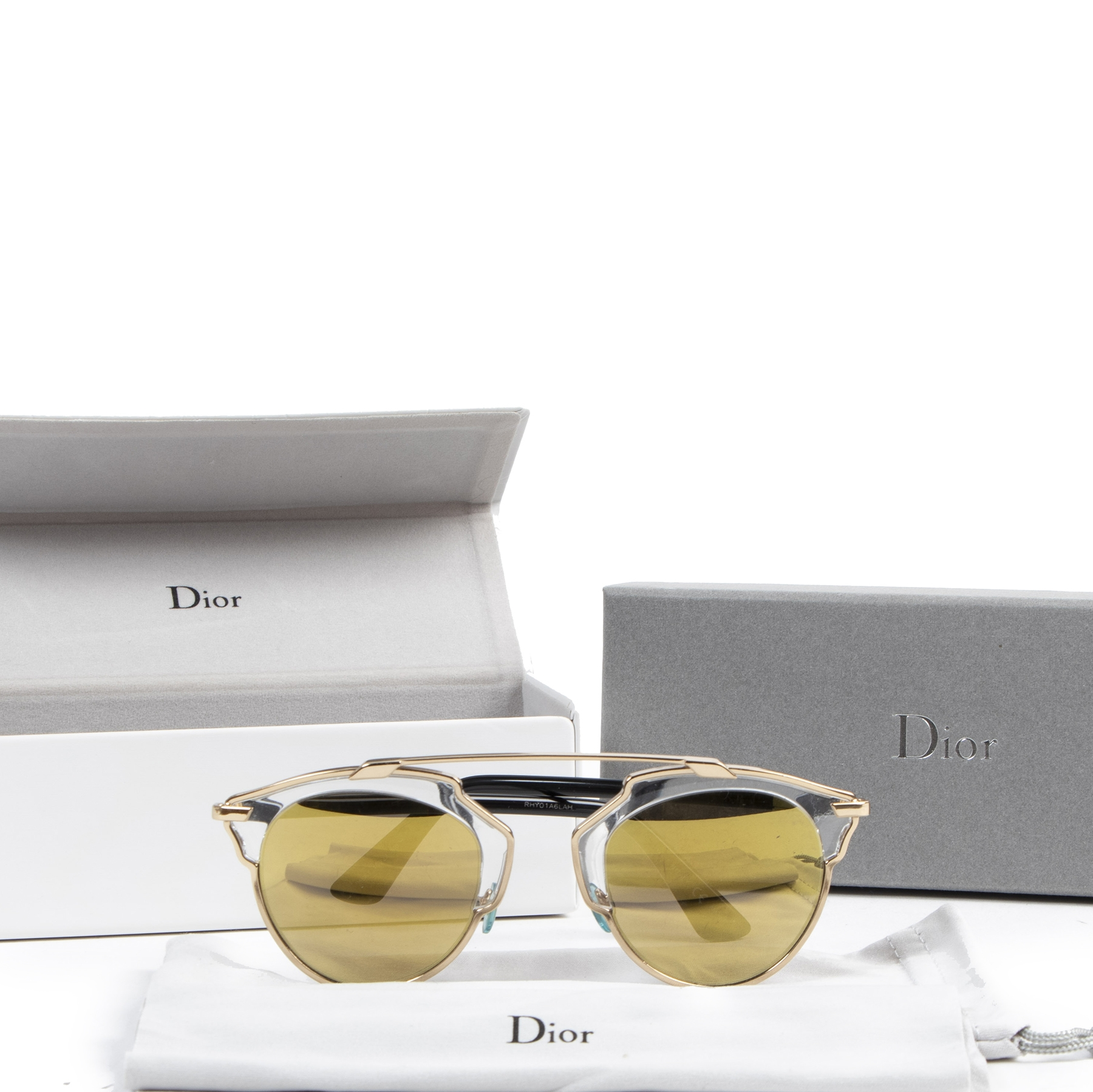 Authentieke tweedehands vintage Dior So Real Sunglasses Yellow koop online webshop LabelLOV