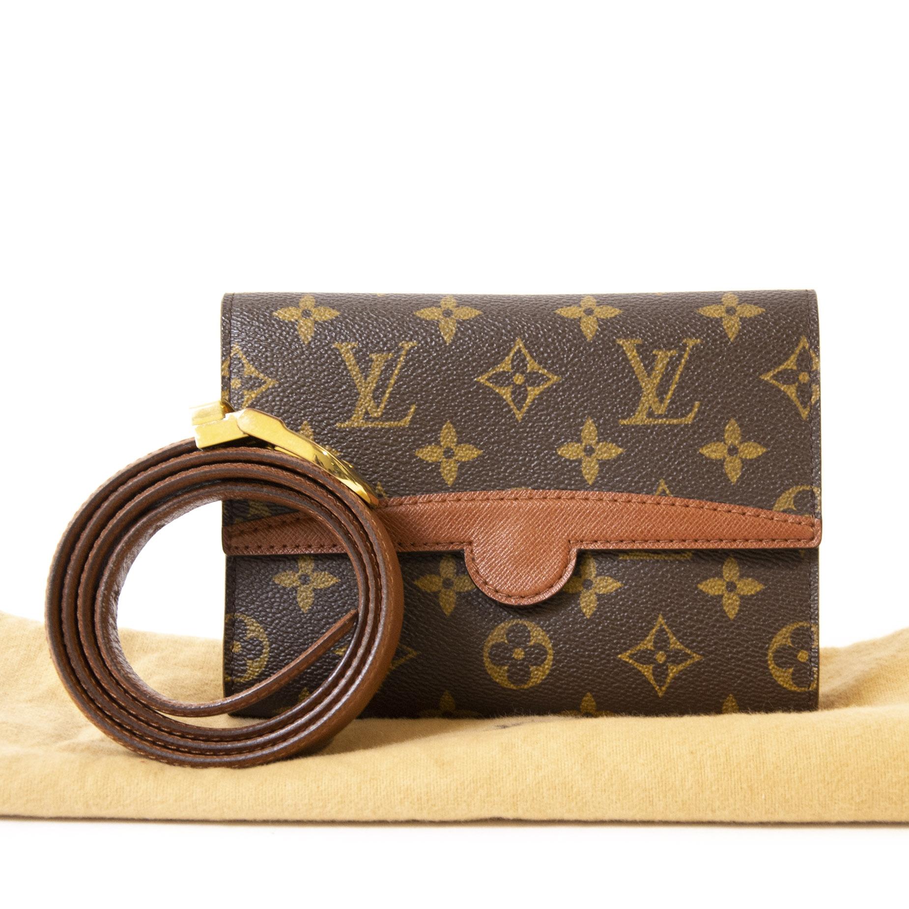 Authentieke Tweedehands Louis Vuitton Monogram Leather Belt Bag juiste prijs veilig online shoppen luxe merken webshop winkelen Antwerpen België mode fashion