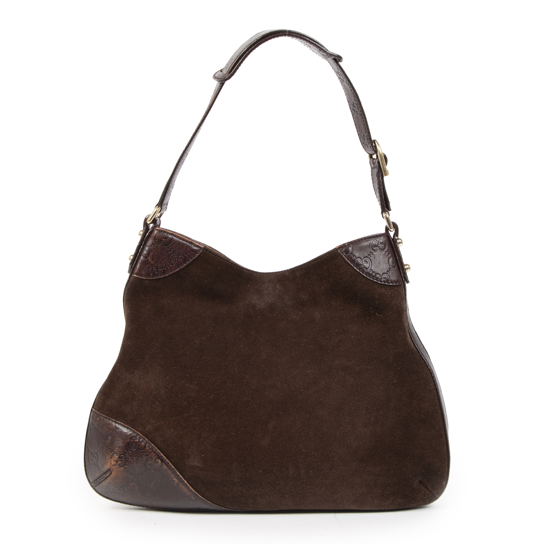 Authentieke tweedehands vintage Gucci Brown Hassler Hobo Bag  koop online webshop LabelLOV