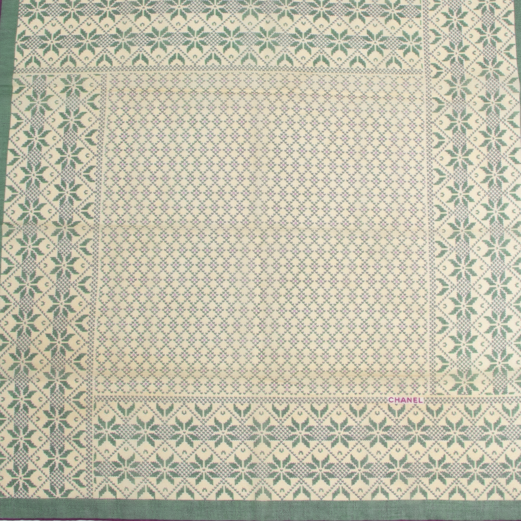 Authentic secondhand Chanel Green Cotton Scarf designer scarves accessories fashion luxury vintage webshop safe secure online shopping