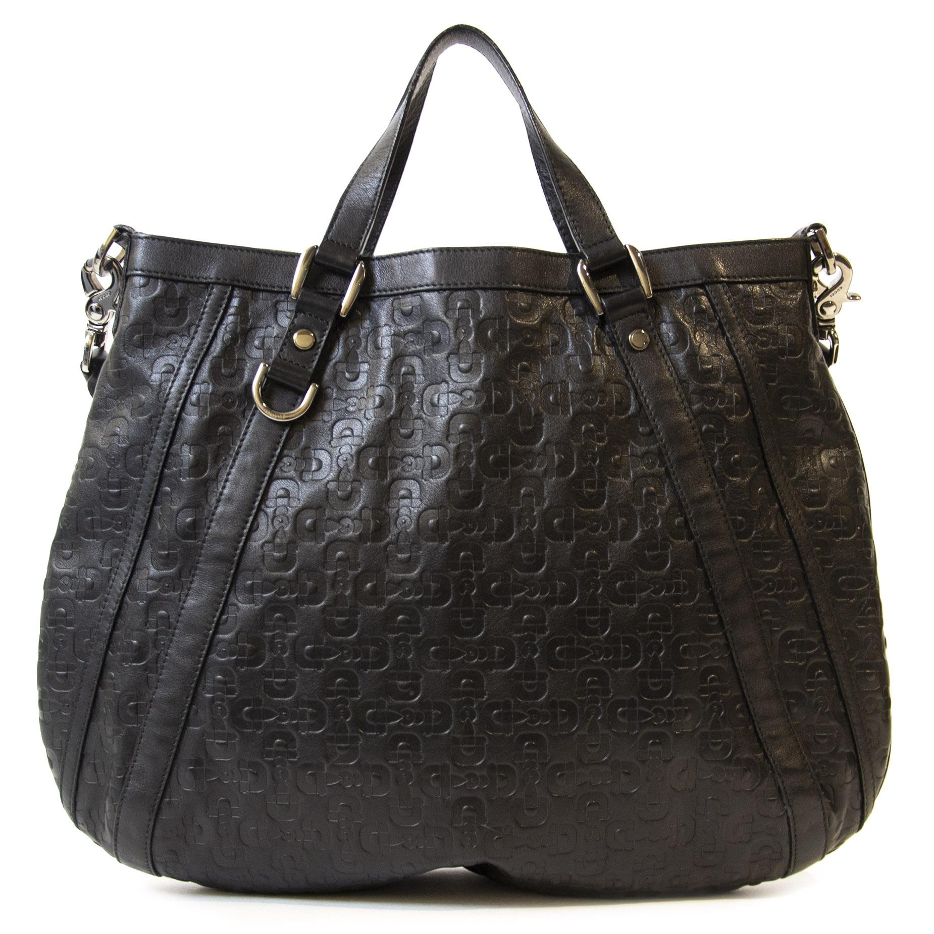 Authentieke Tweedehands Gucci Black Leather Abbey Horsebit Print Tote juiste prijs veilig online betalen winkelen shoppen Antwerpen België mode fashion luxe merken webshop