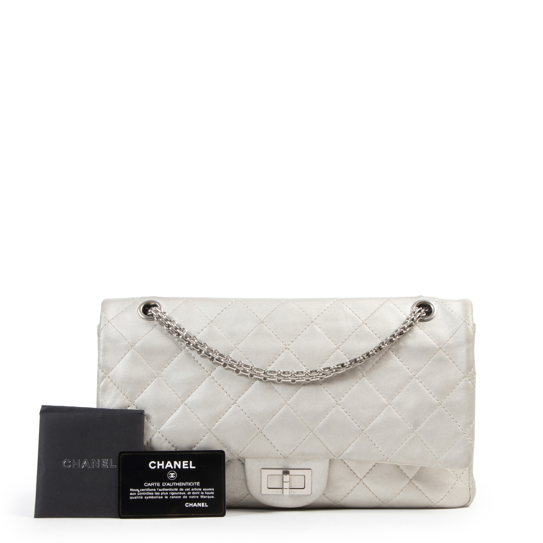 Chanel Grey Metallic Reissue 2.55 227 Bag
