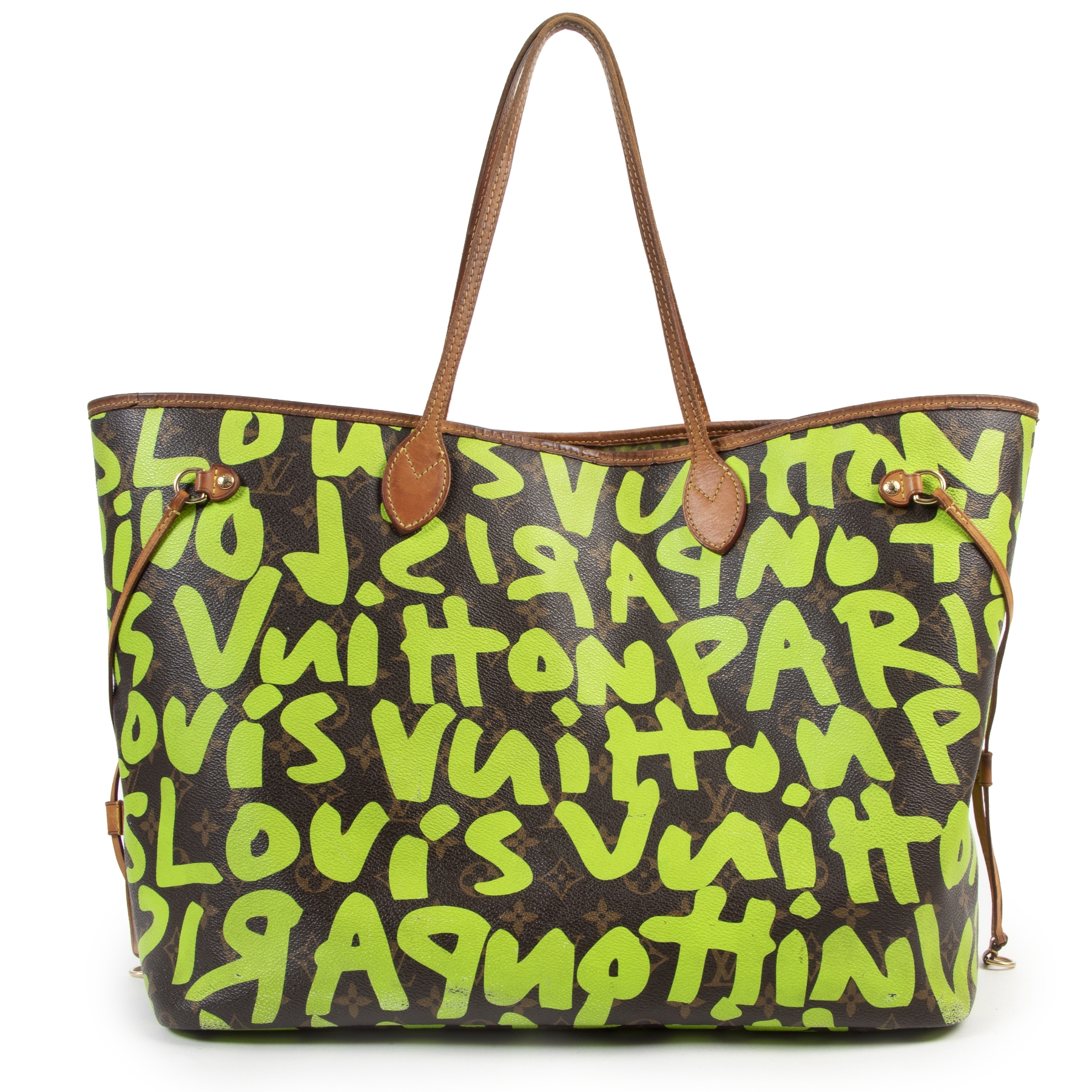 Authentic one-of-a-kind Louis Vuitton Limited Edition Stephen Sprouse Neon Green Grafitti Neverfull GM