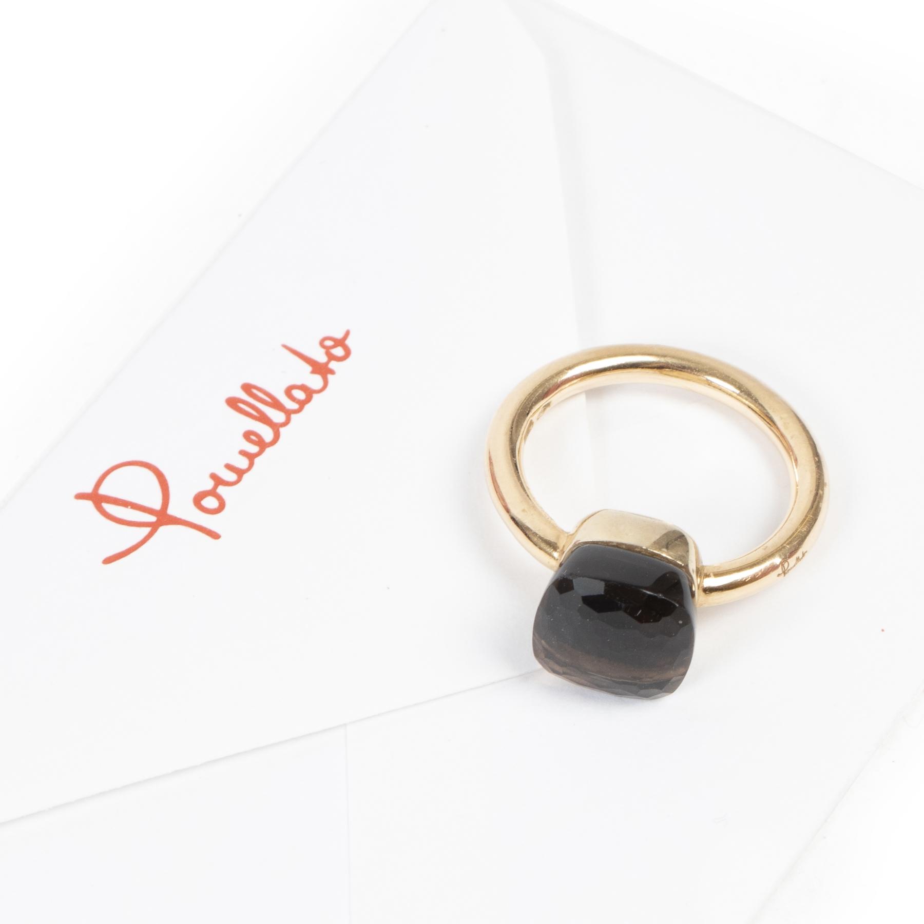Pomellato Rose Gold Smoky Quartz Ring - Size 54
