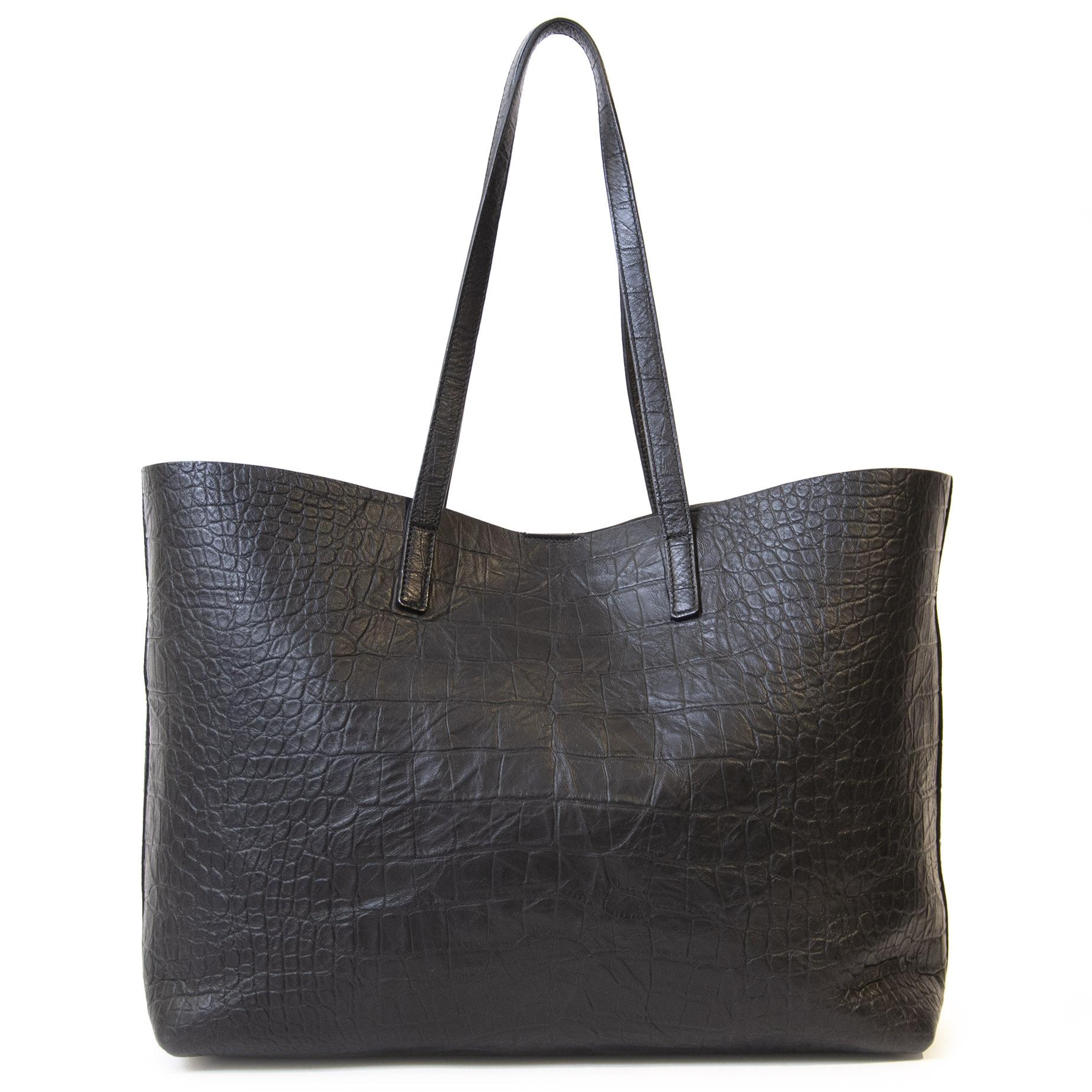 Authentieke Tweedehands Yves Saint Laurent Black Croco Shopping Tote Bag juiste prijs veilig online shoppen luxe merken webshop winkelen Antwerpen België mode fashion