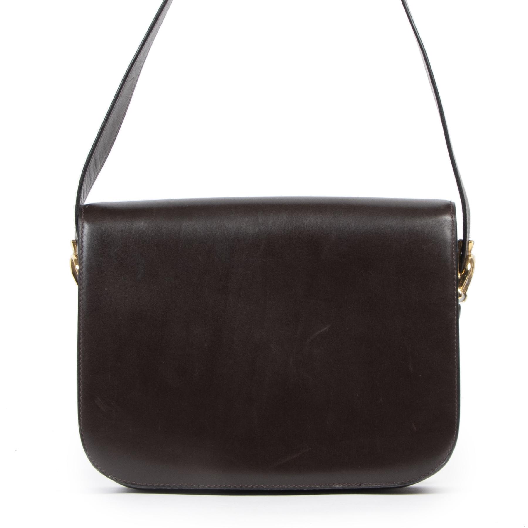 Authentieke Tweedehands Celine Brown Carriage Shoulder Bag designer tassen juiste prijs veilig online shoppen luxe merken webshop winkelen Antwerpen België mode fashion