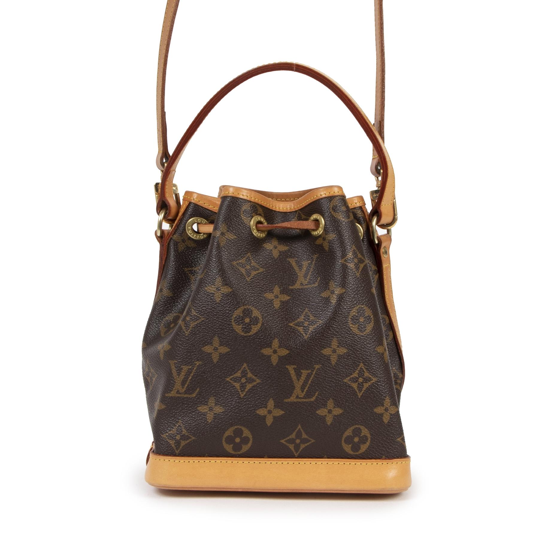 Authentieke Tweedehands Louis Vuitton Monogram Mini Noé Bucket Bag + Strap juiste prijs veilig online shoppen luxe merken webshop winkelen Antwerpen België mode fashion