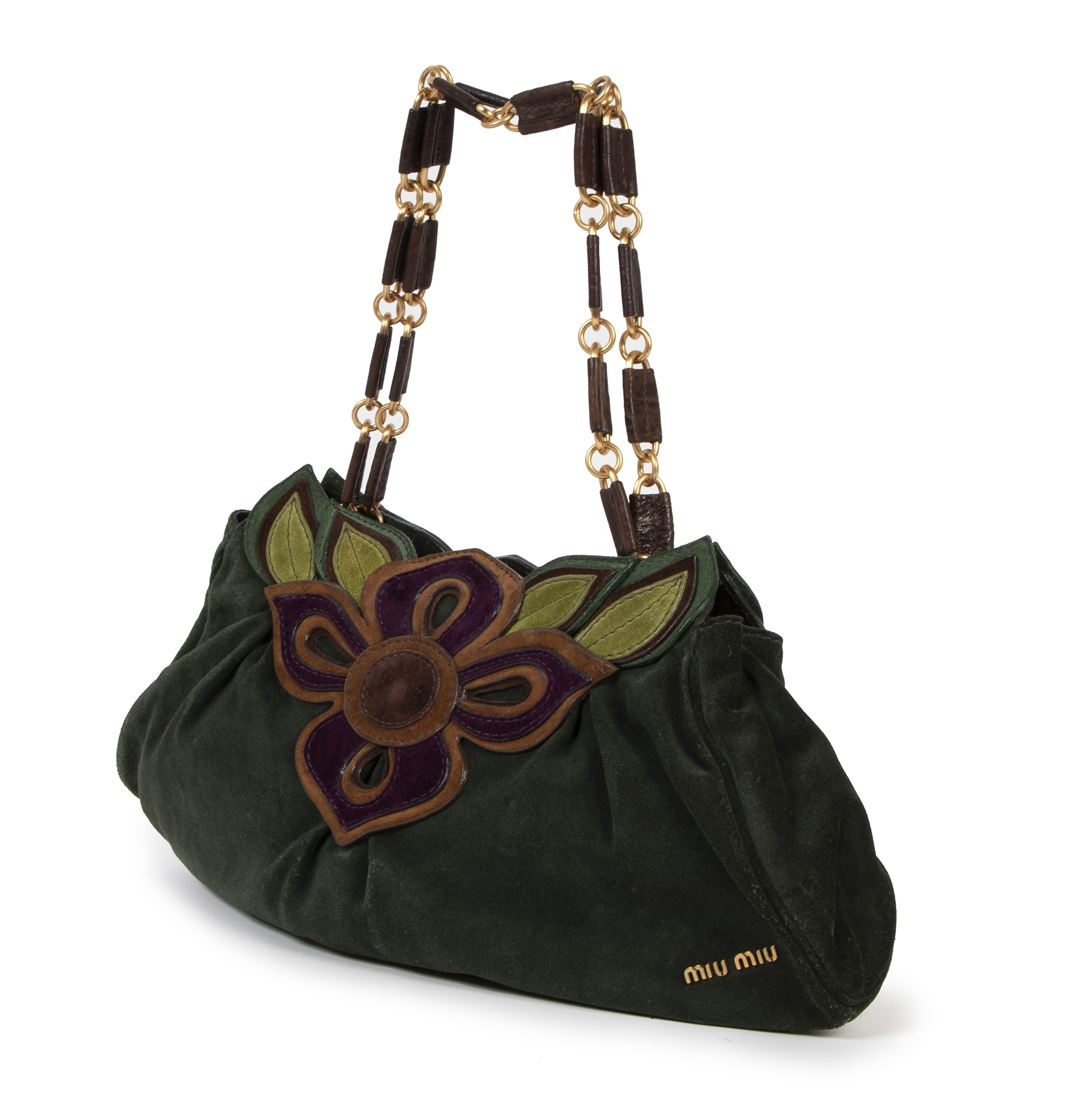 Authentieke tweedehands vintage Miu Miu Green Suede Flower Shoulder Bag koop online webshop LabelLOV