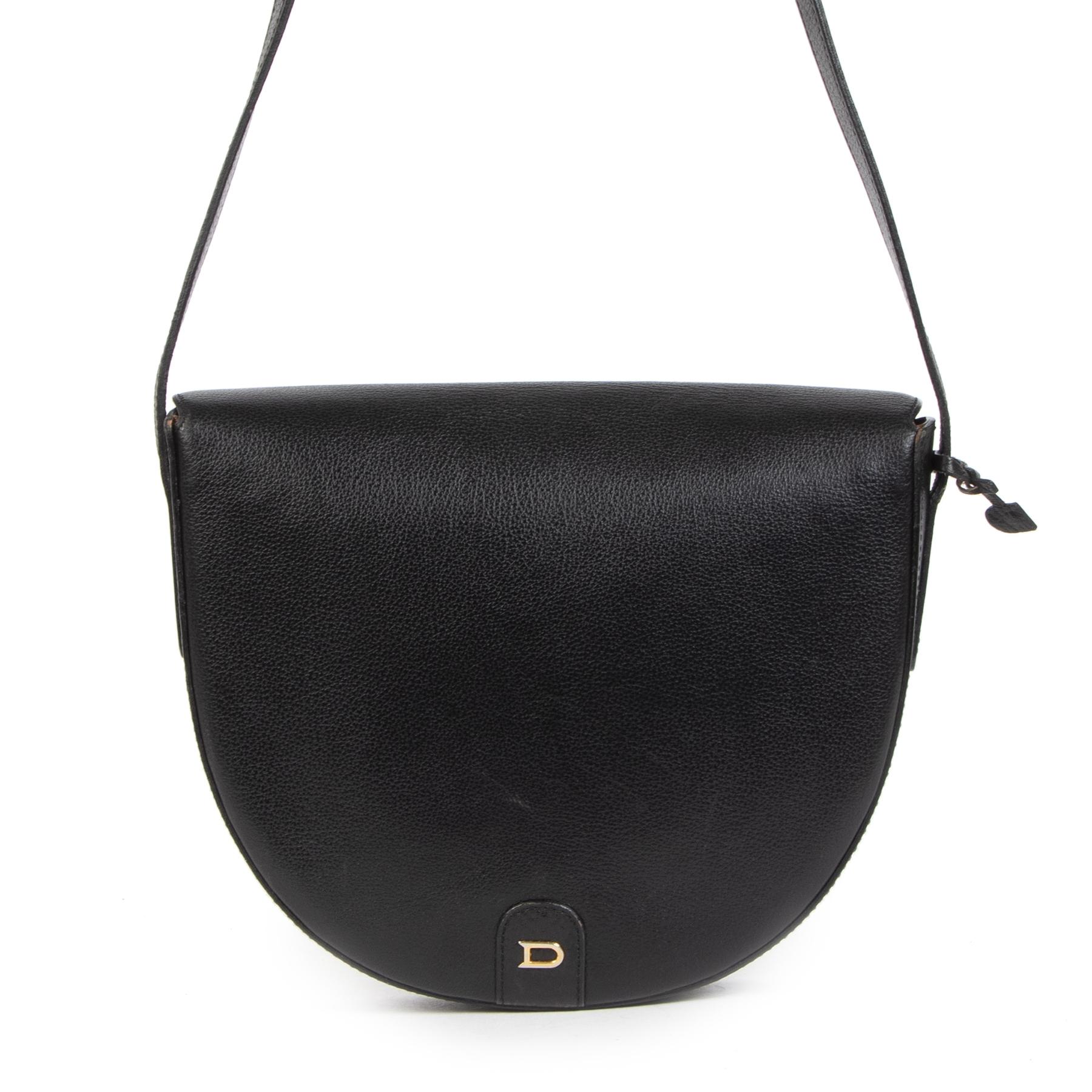 Authentieke Tweedehands Delvaux Black Leather Crossbody Bag juiste prijs veilig online shoppen luxe merken webshop winkelen Antwerpen België mode fashion