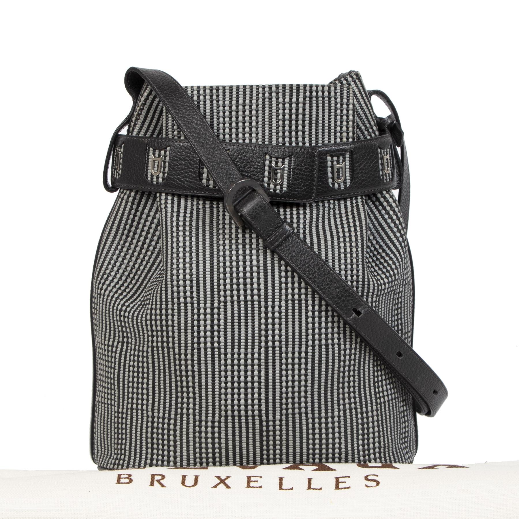Authentic second-hand vintage Delvaux Calicot Toile De Cuir Bucket Bag buy online webshop LabelLOV