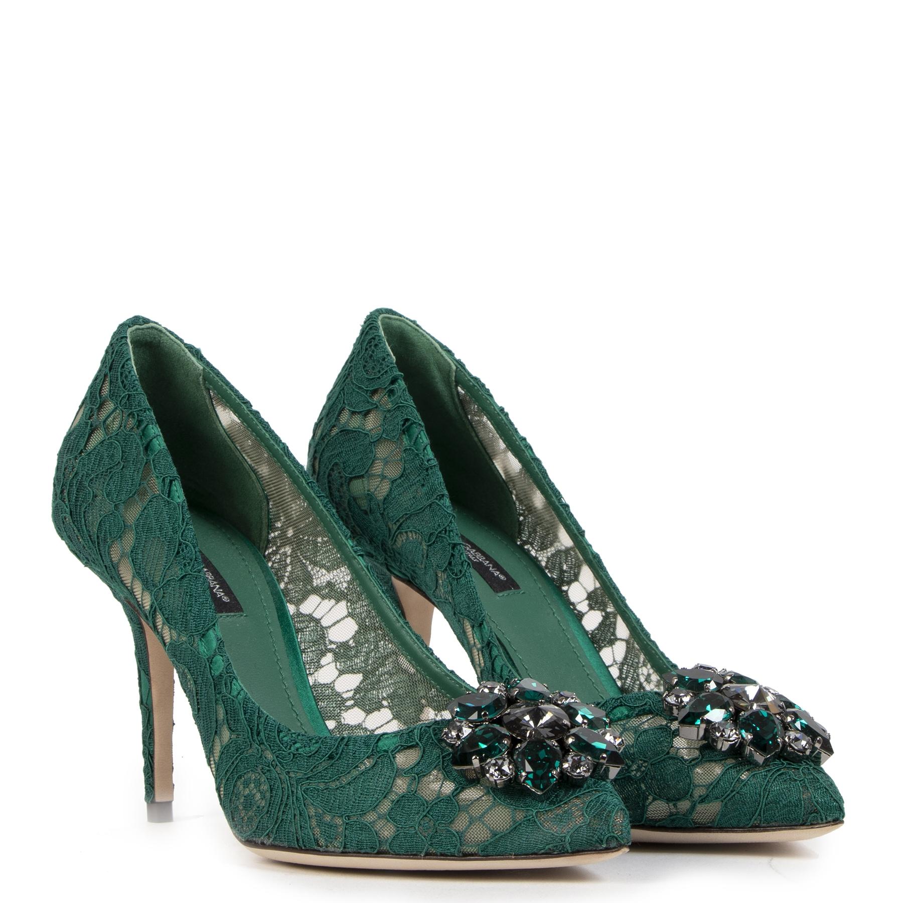 Authentieke Tweedehands Dolce & Gabbana Taormina Crystal Lace Pumps - Size 38 juiste prijs veilig online shoppen luxe merken webshop winkelen Antwerpen België mode fashion