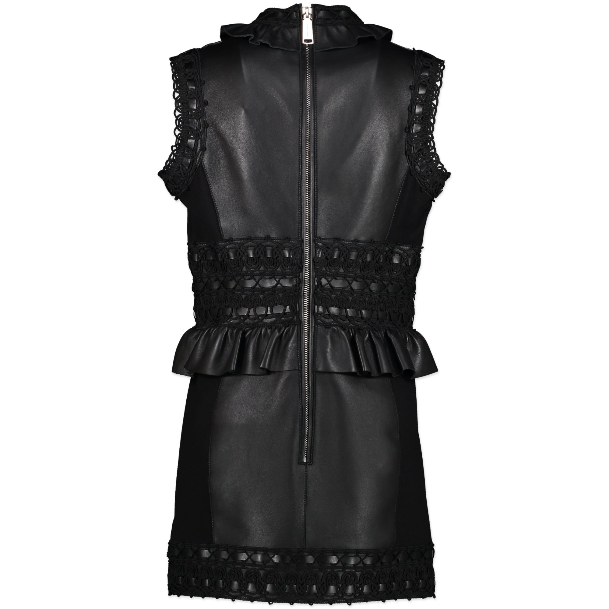 Dsuared2 Black Leather Mini Dress - It size 44