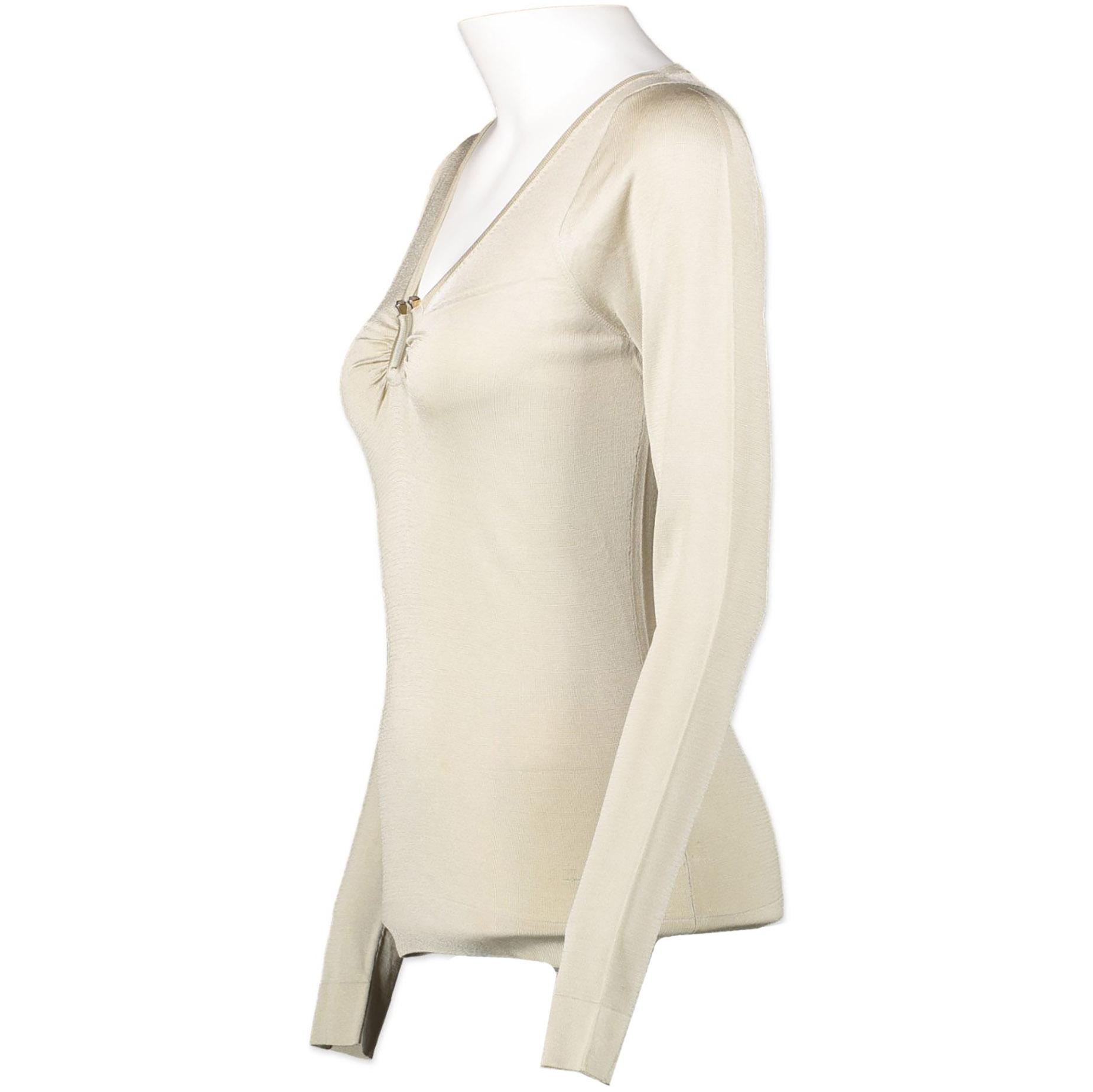 Authentieke Tweedehands Gucci Beige Metal Detail Top juiste prijs veilig online winkelen webshop luxe merken Antwerpen België winkelen mode fashion