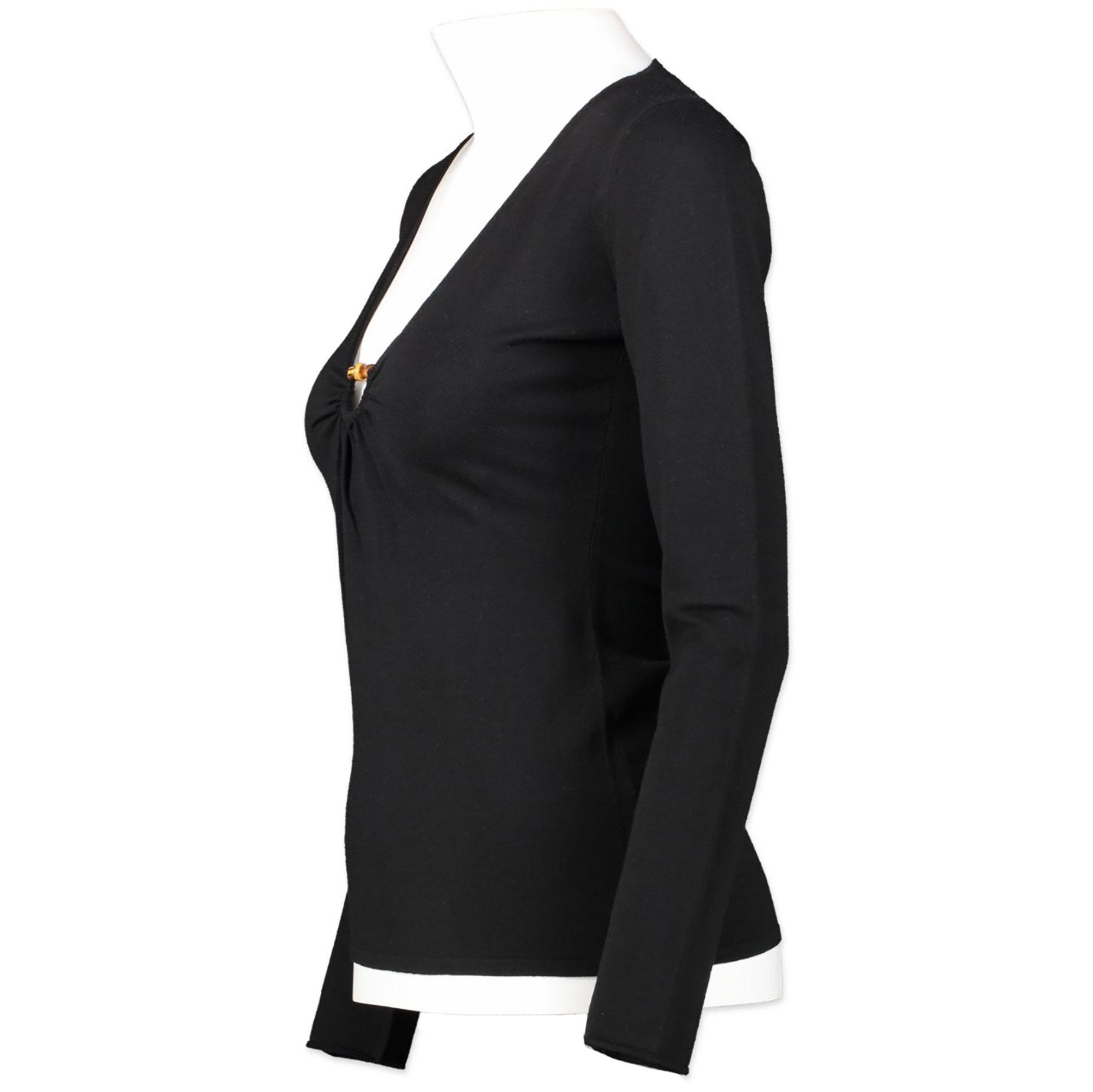 Authentieke Tweedehands Gucci Black Bamboo Top juiste prijs veilig online winkelen luxe merken webshop Antwerpen België winkelen mode fashion