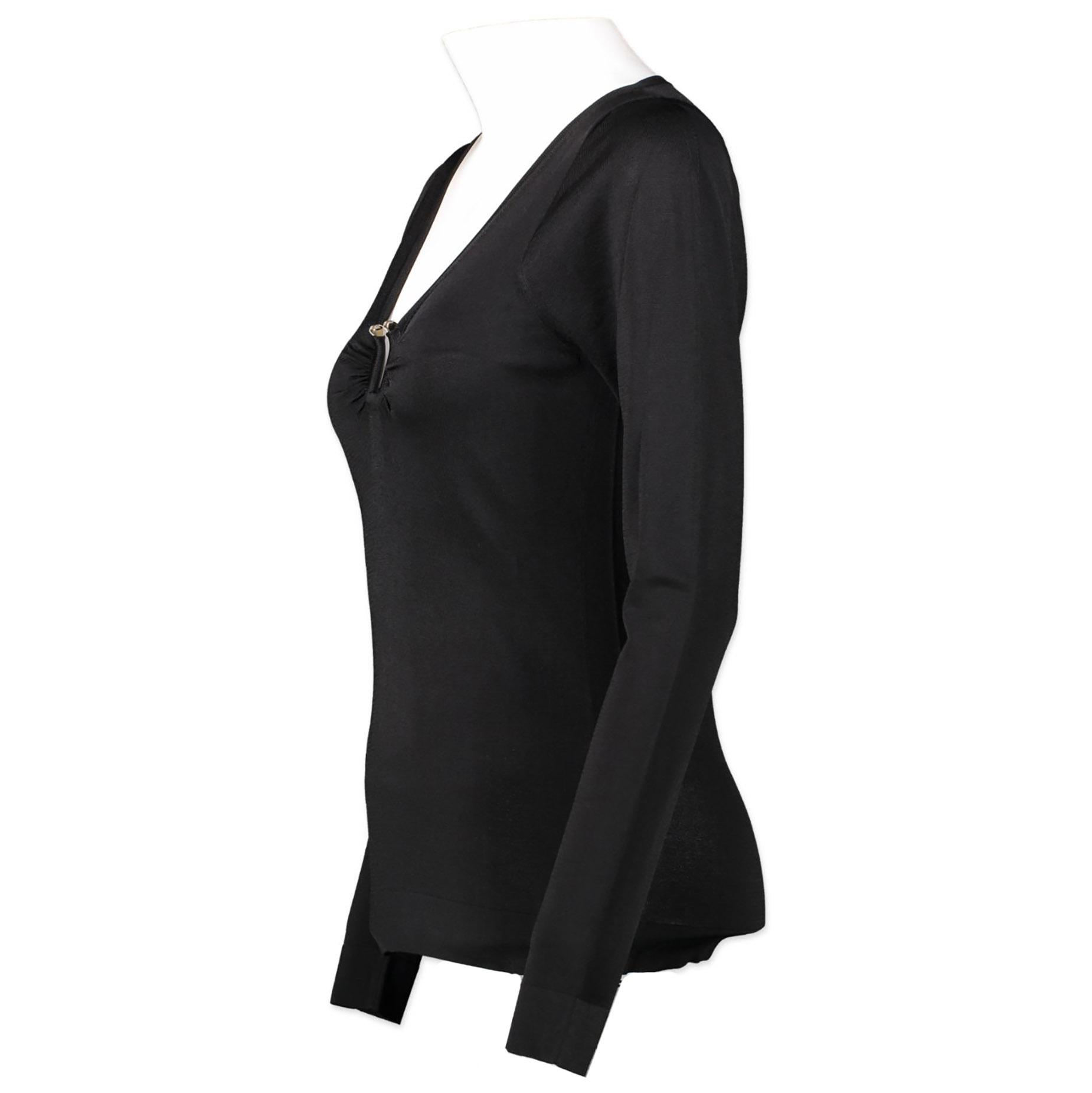 Authentieke Tweedehands Gucci Black Metal Detail Top juiste prijs veilig online winkelen luxe merken webshop Antwerpen België winkelen mode fashion