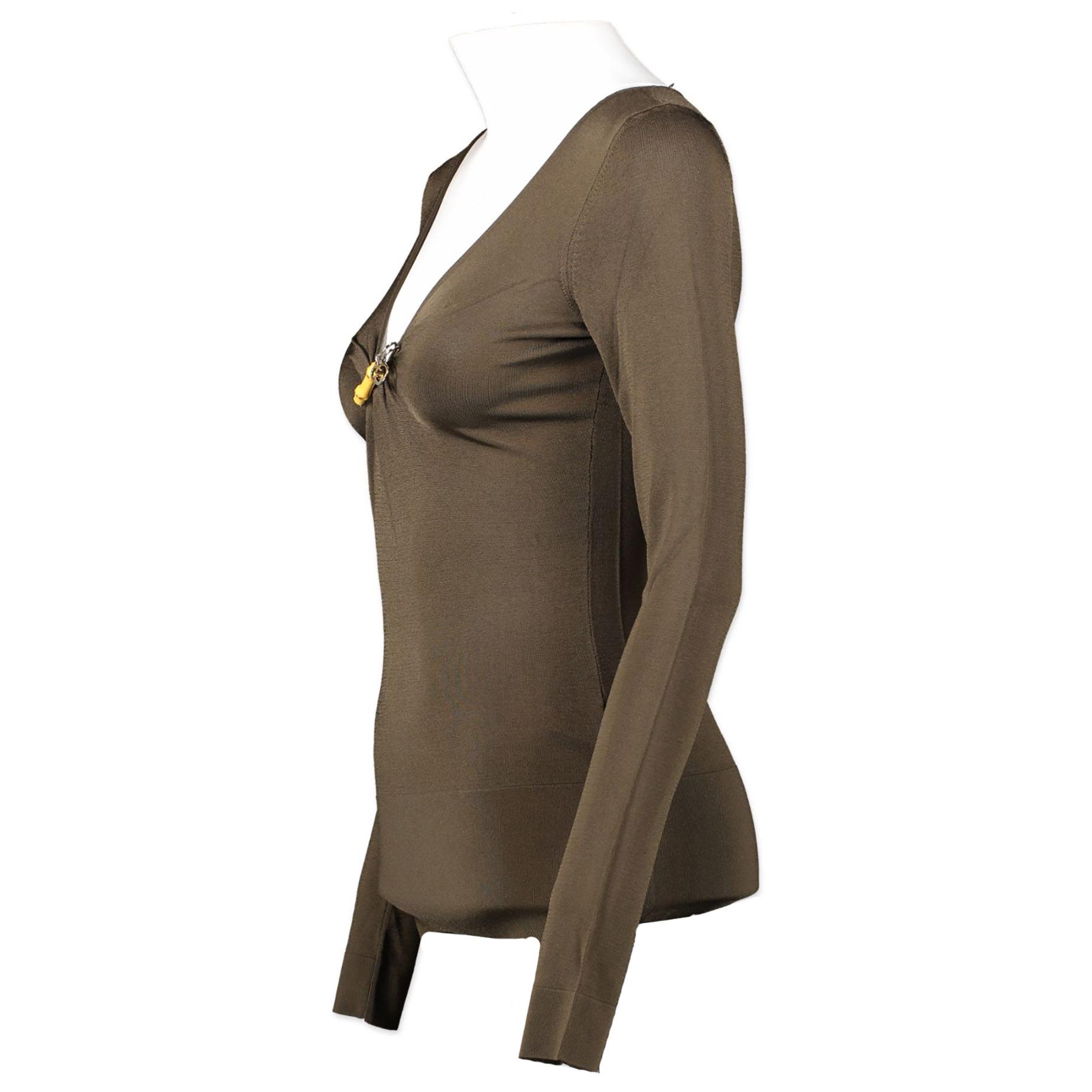 Authentieke tweedehands Gucci Khaki bamboo pin top juiste prijs veilig online winkelen luxe merken webshop winkelen Antwerpen België mode fashion