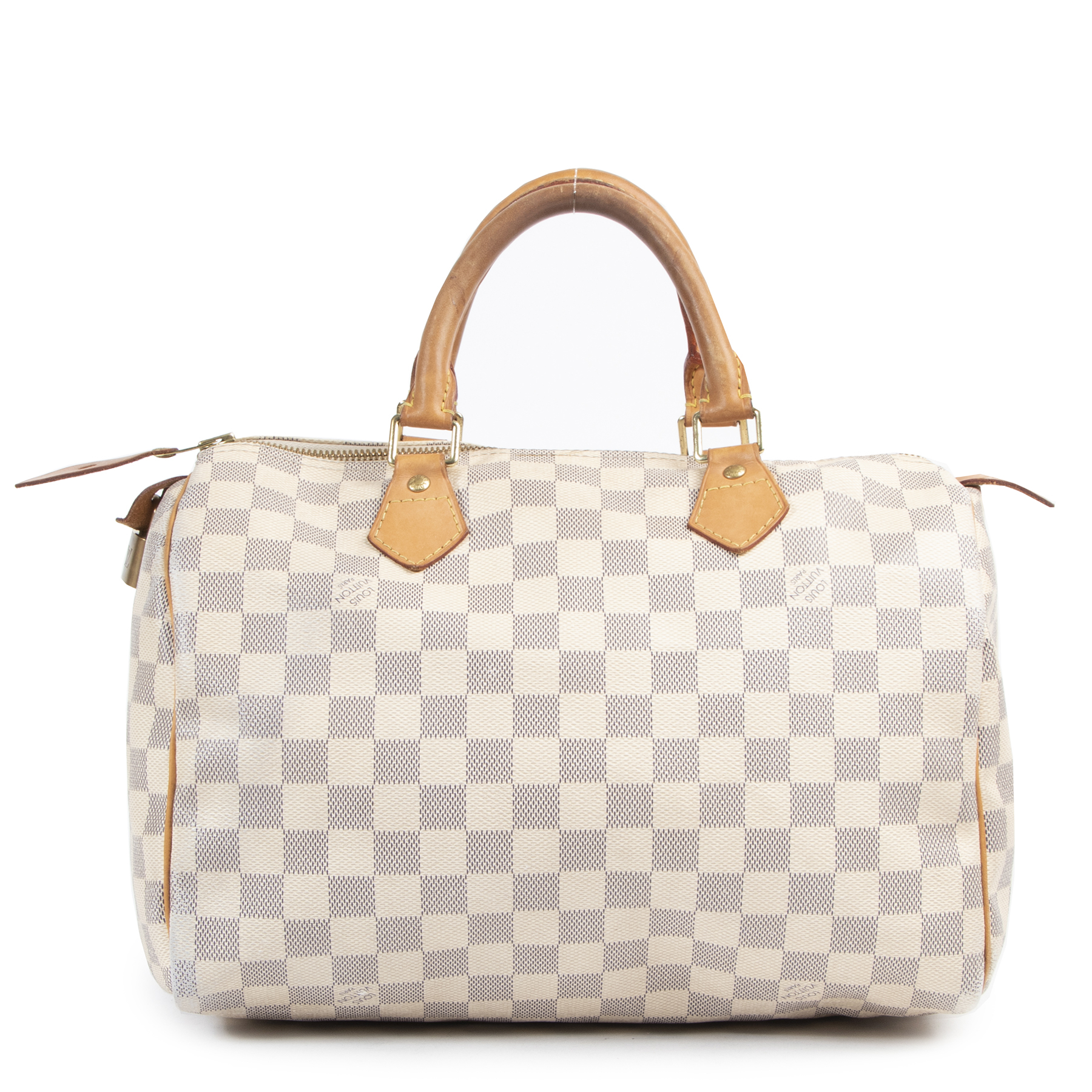 We buy and sell your authentic designer Louis Vuitton Speedy 30 Damier Azur