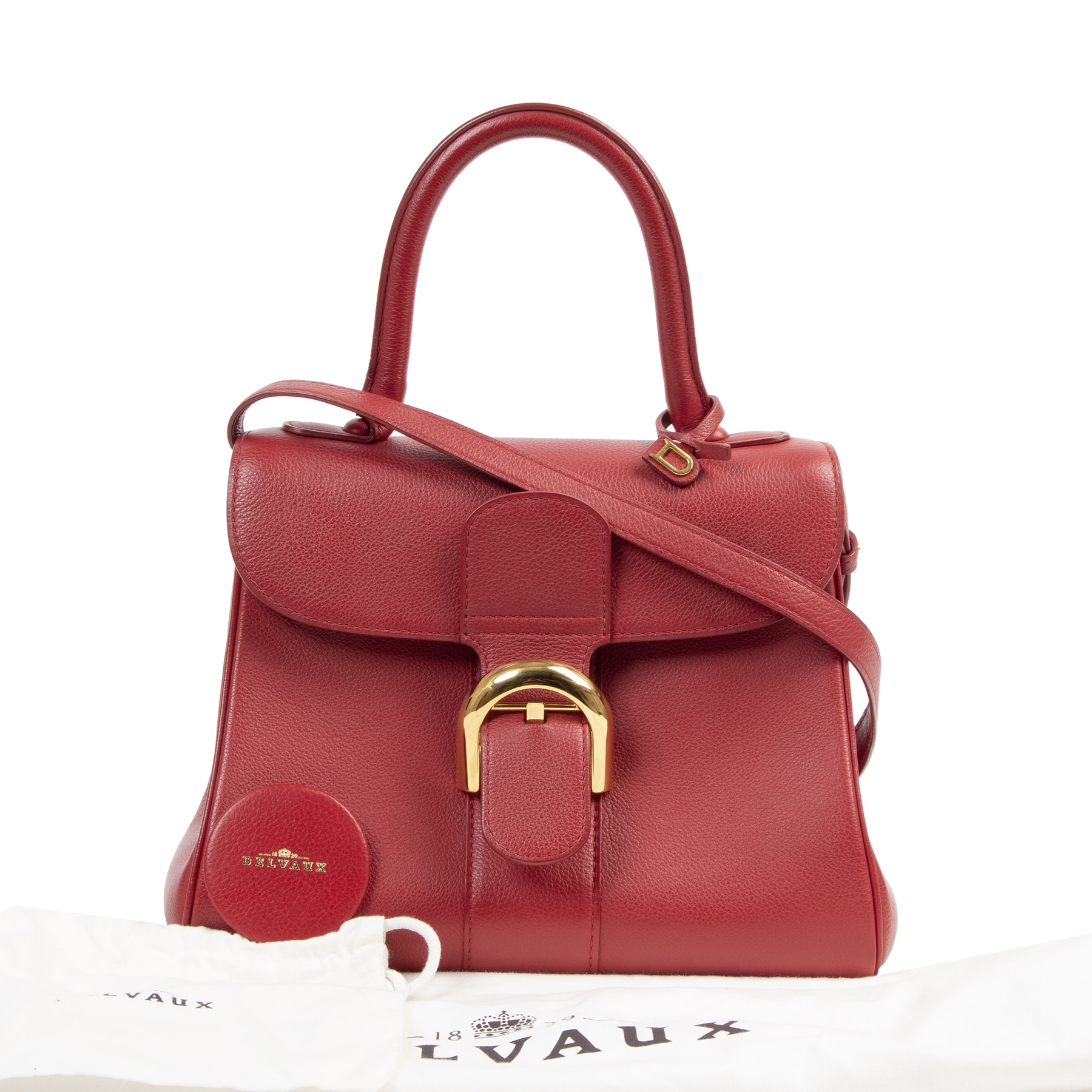 Authentic secondhand Delvaux Brick Red Brillant PM Handbag designer bags fashion luxury vintage webshop winkelen Antwerpen België mode fashion designer high end brands