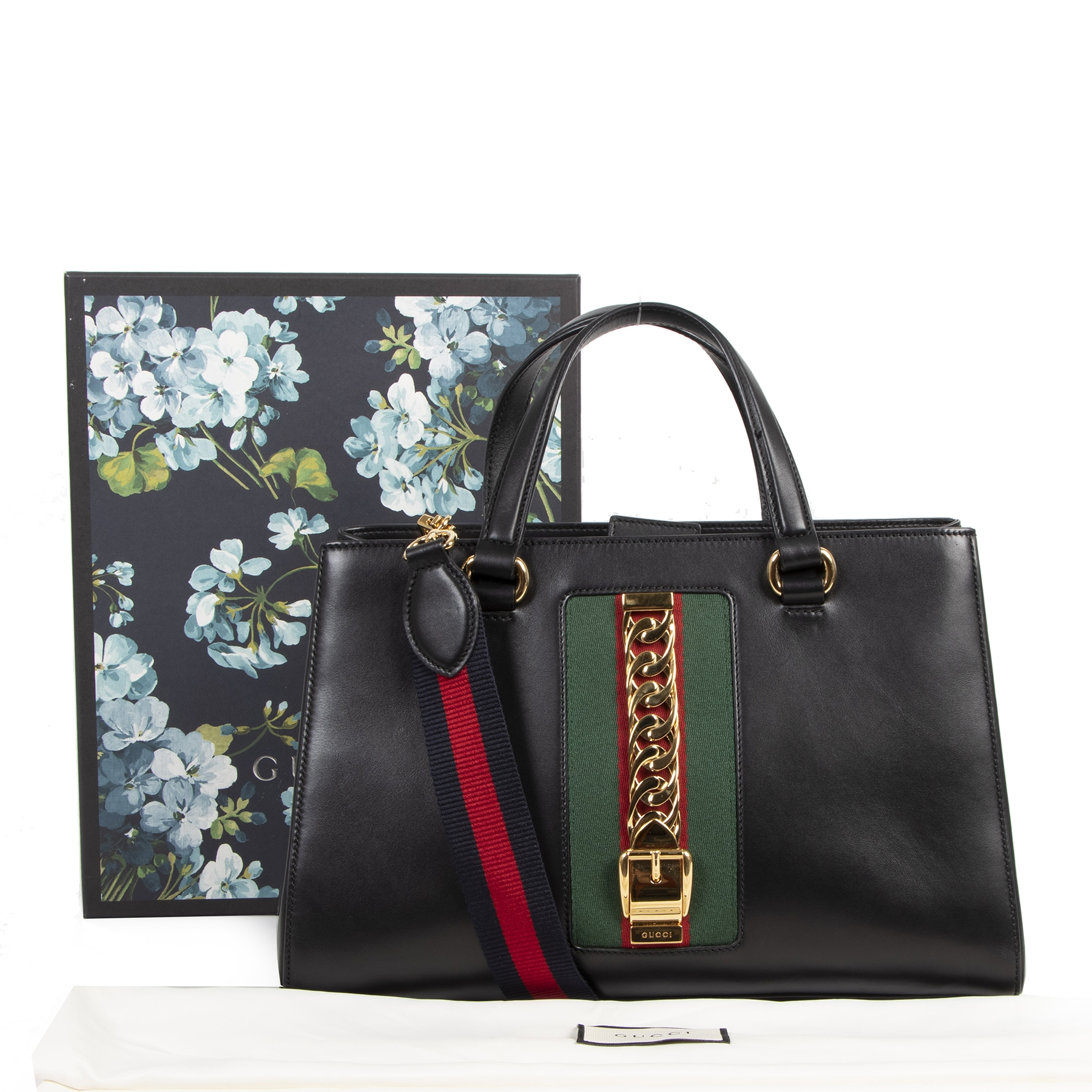 Authentieke tweedehands vintage Gucci Sylvie Black Shoulder Bag  koop online webshop LabelLOV