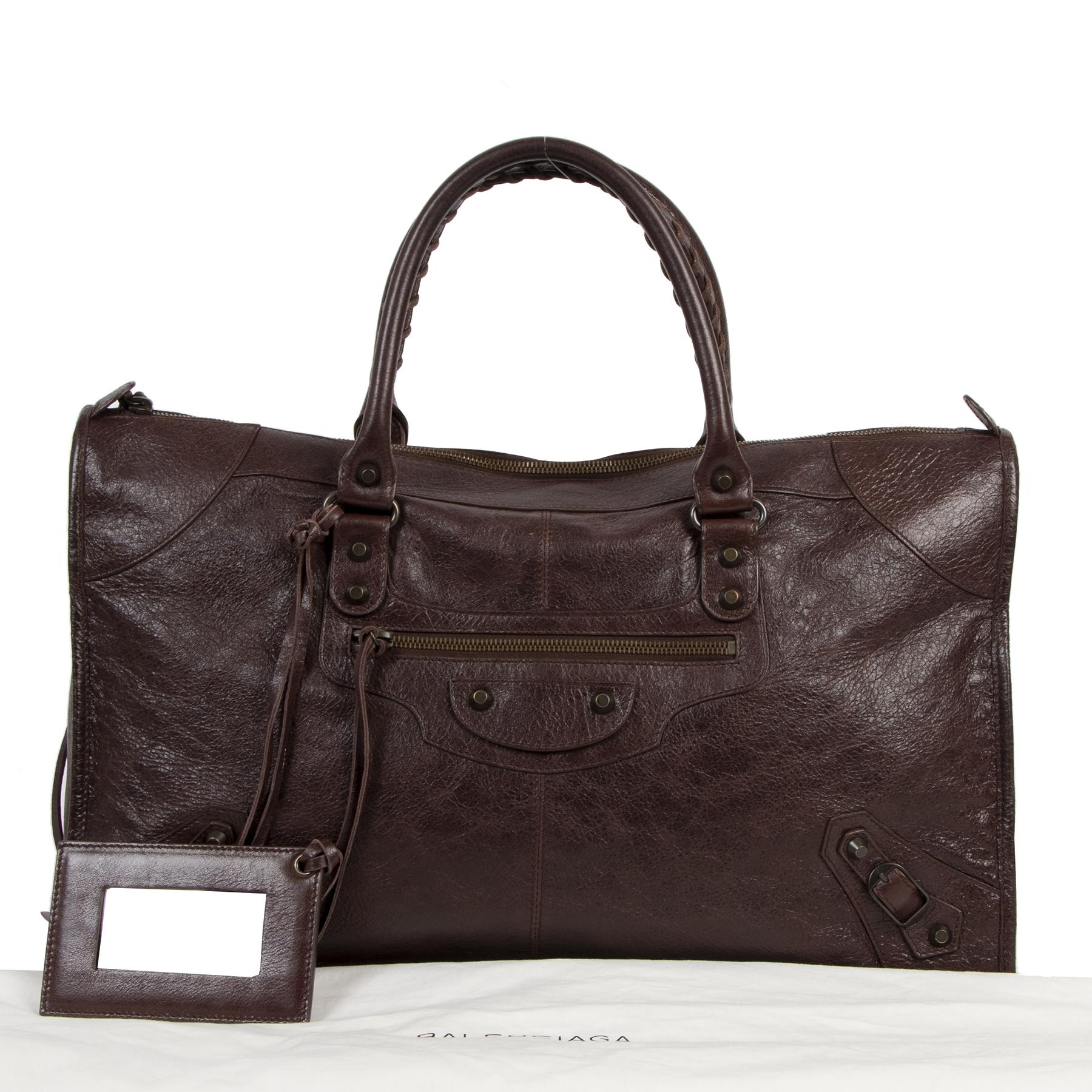 Balenciaga Burgundy Leather Work Bag
