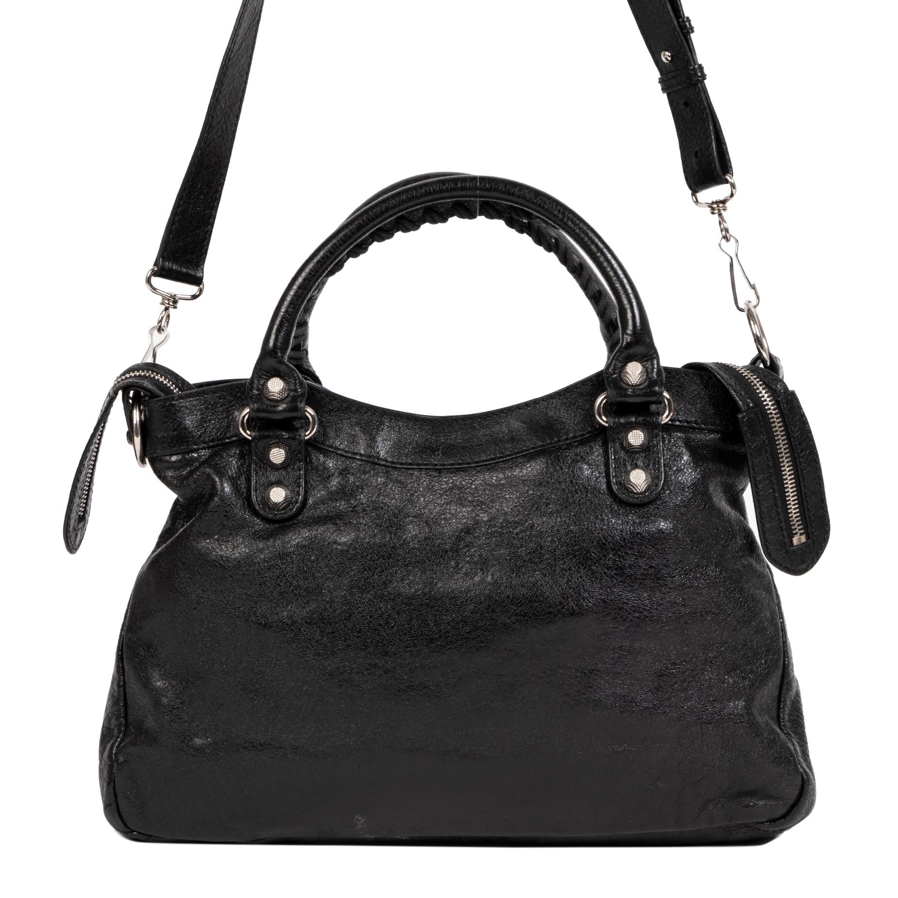 shop safe online secondhand Balenciaga Black Leather Town Bag + Strap