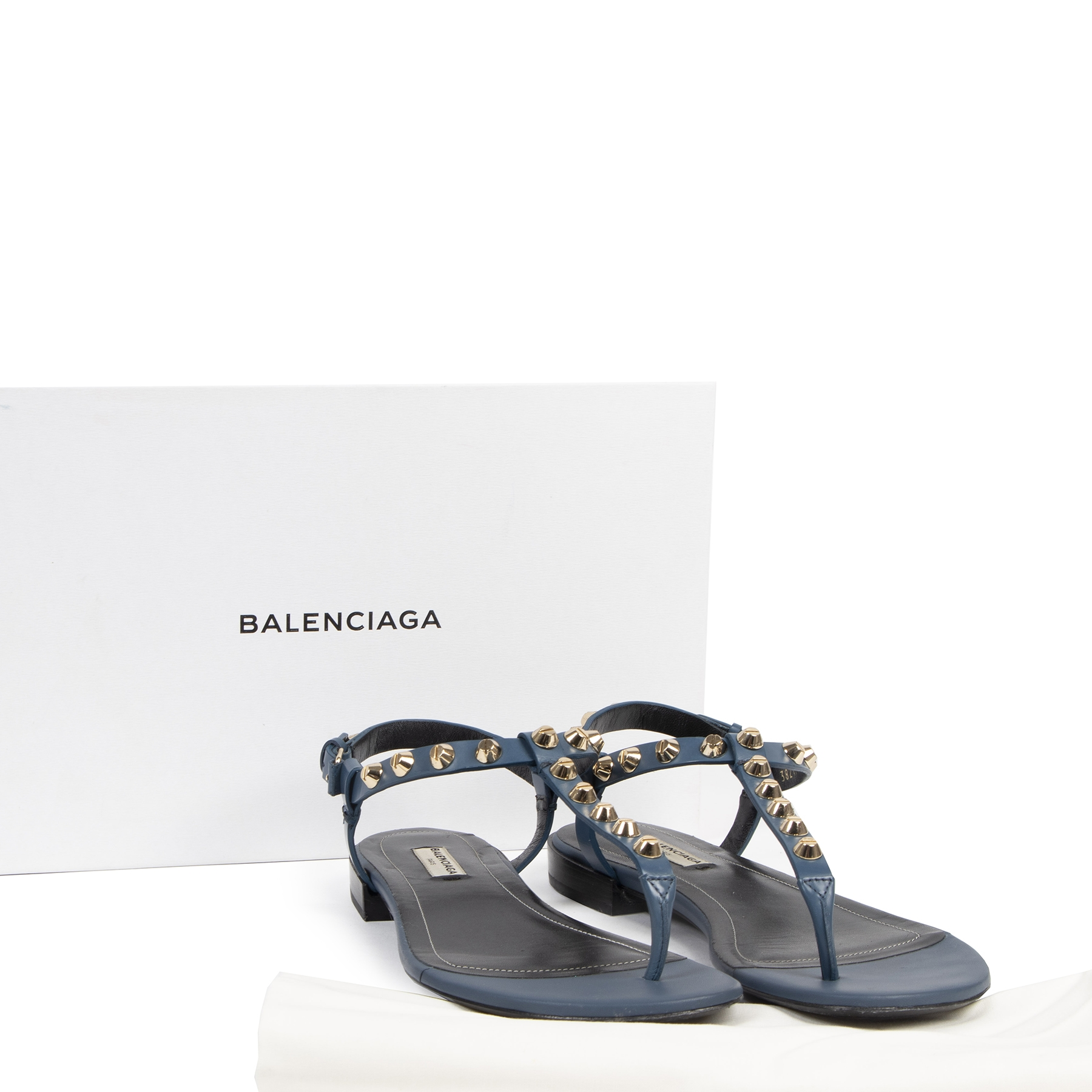 Authentic secondhand Balenciaga Blue Studded City Sandals - size 40,5 designer shoes brands fashion luxury vintage webshop safe secure online shopping