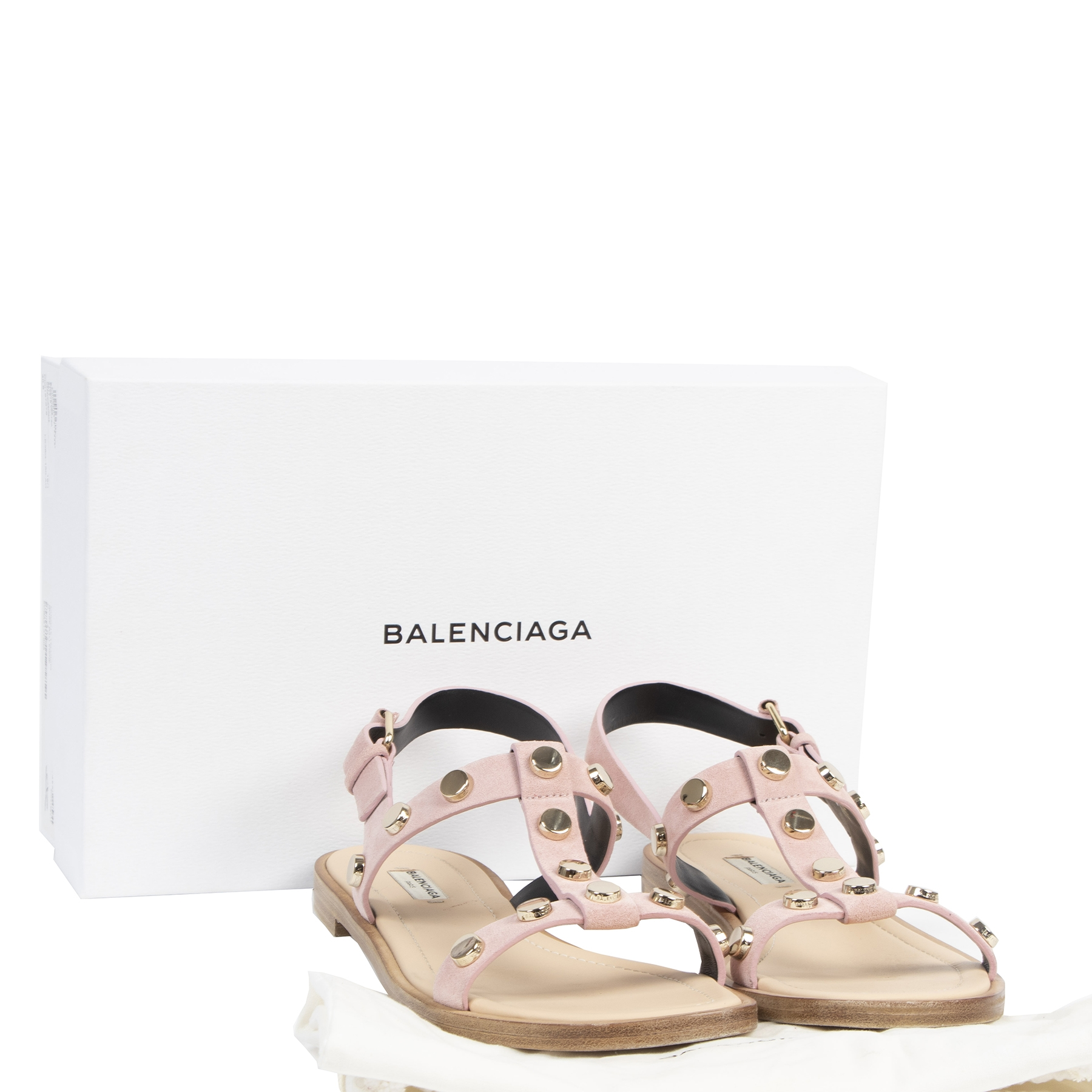 Balenciaga Pink Studded Sandals - size 40.5 - for sale at labellov secondhand luxury in Antwerp