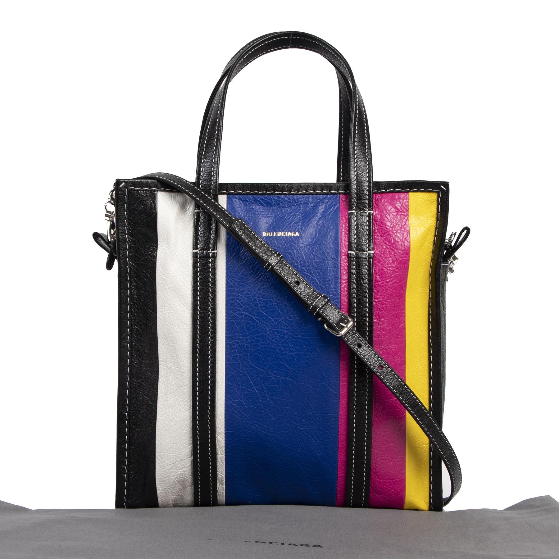 koop veilig online Balenciaga Striped Bazaar S Leather Shopper