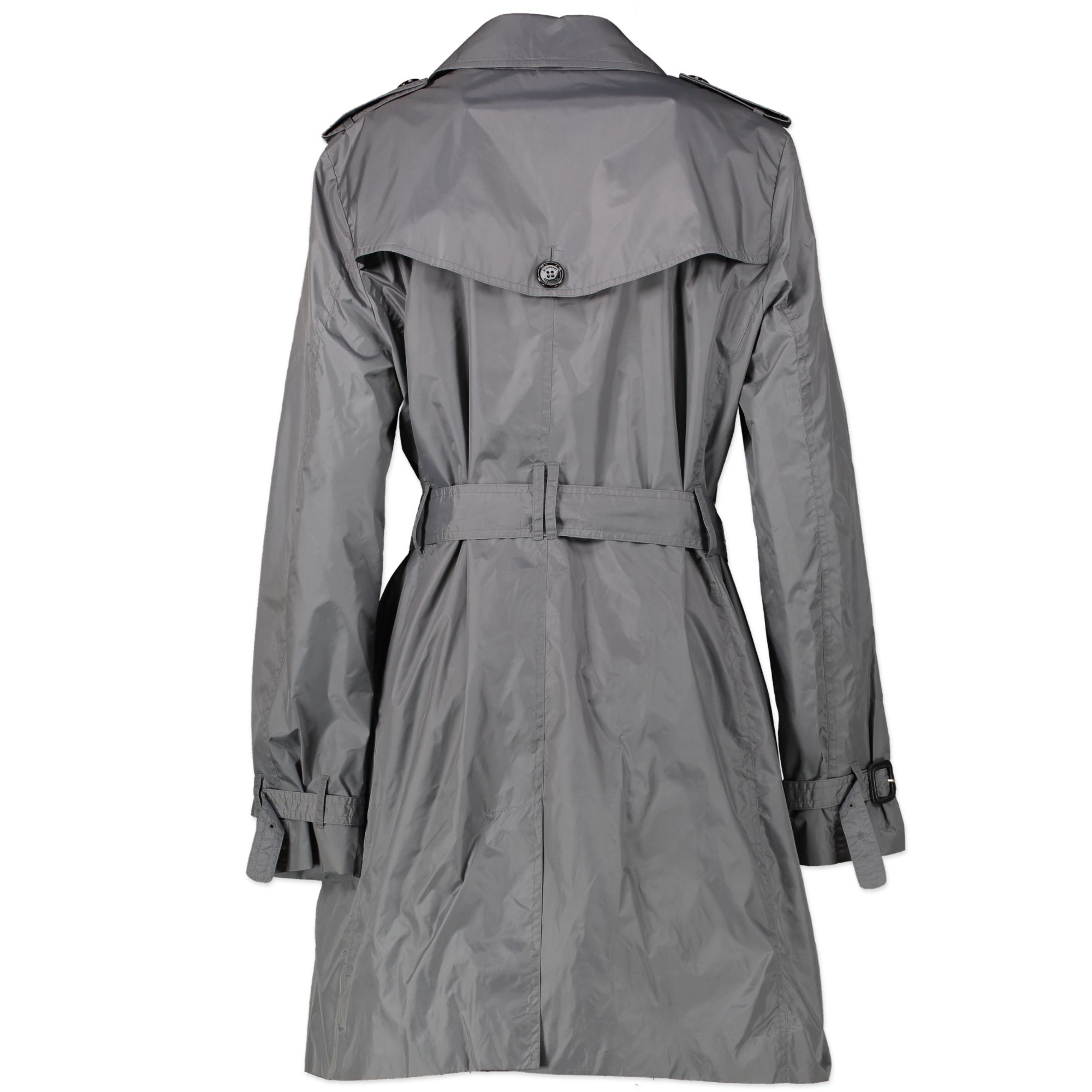 Burberry Grey Nylon Trench - Uk 14 - for the best price at Labellov secondhand vintage webshop Antwerp